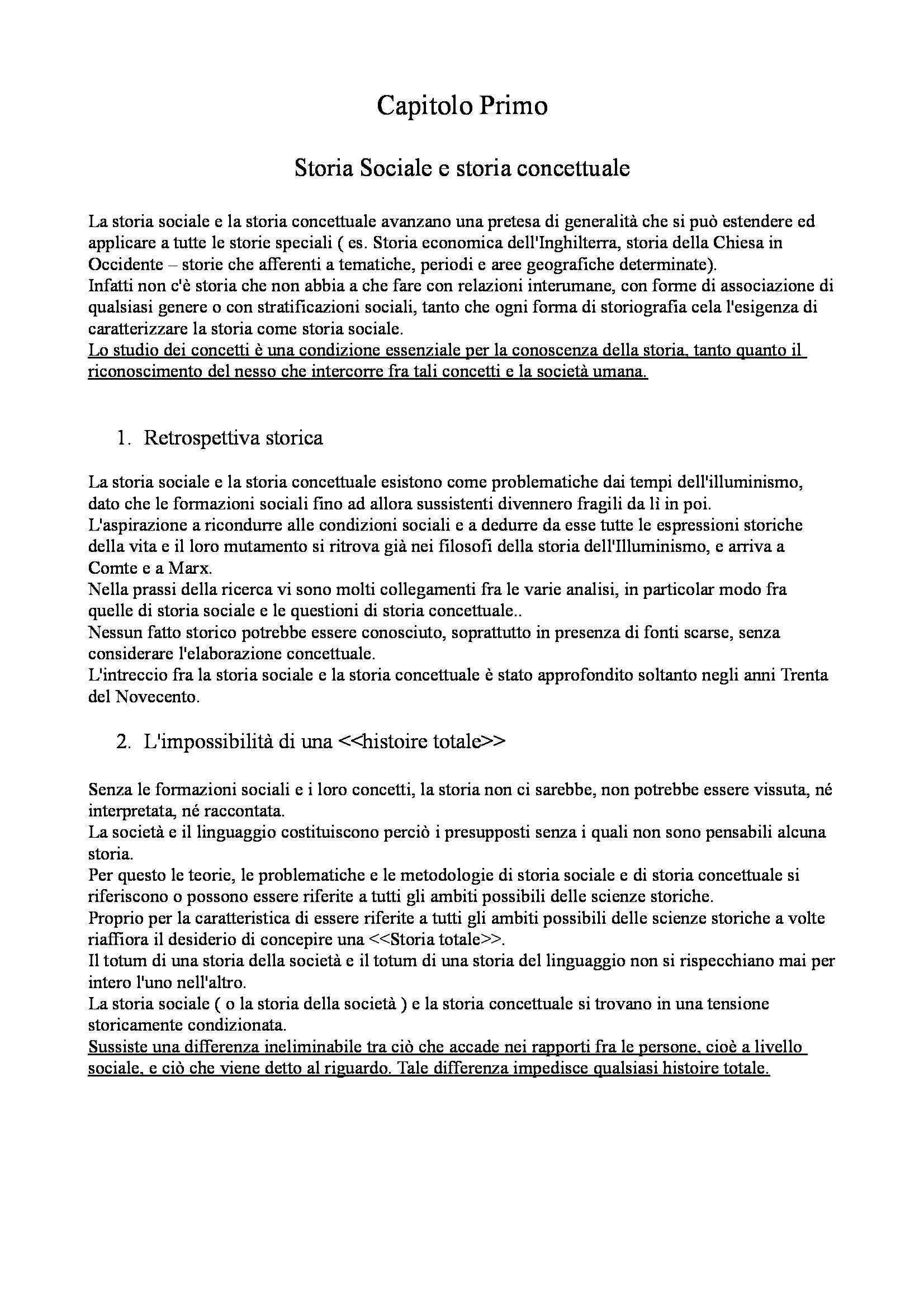 Riassunto esame Fondamenti di scienze sociali, prof. Lombardo, libro consigliato Vocabolario della modernità di Koselleck