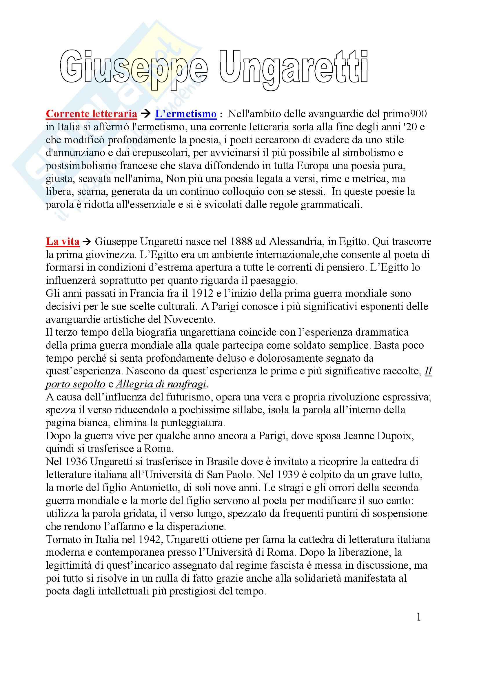 Letteratura italiana - Giuseppe Ungaretti
