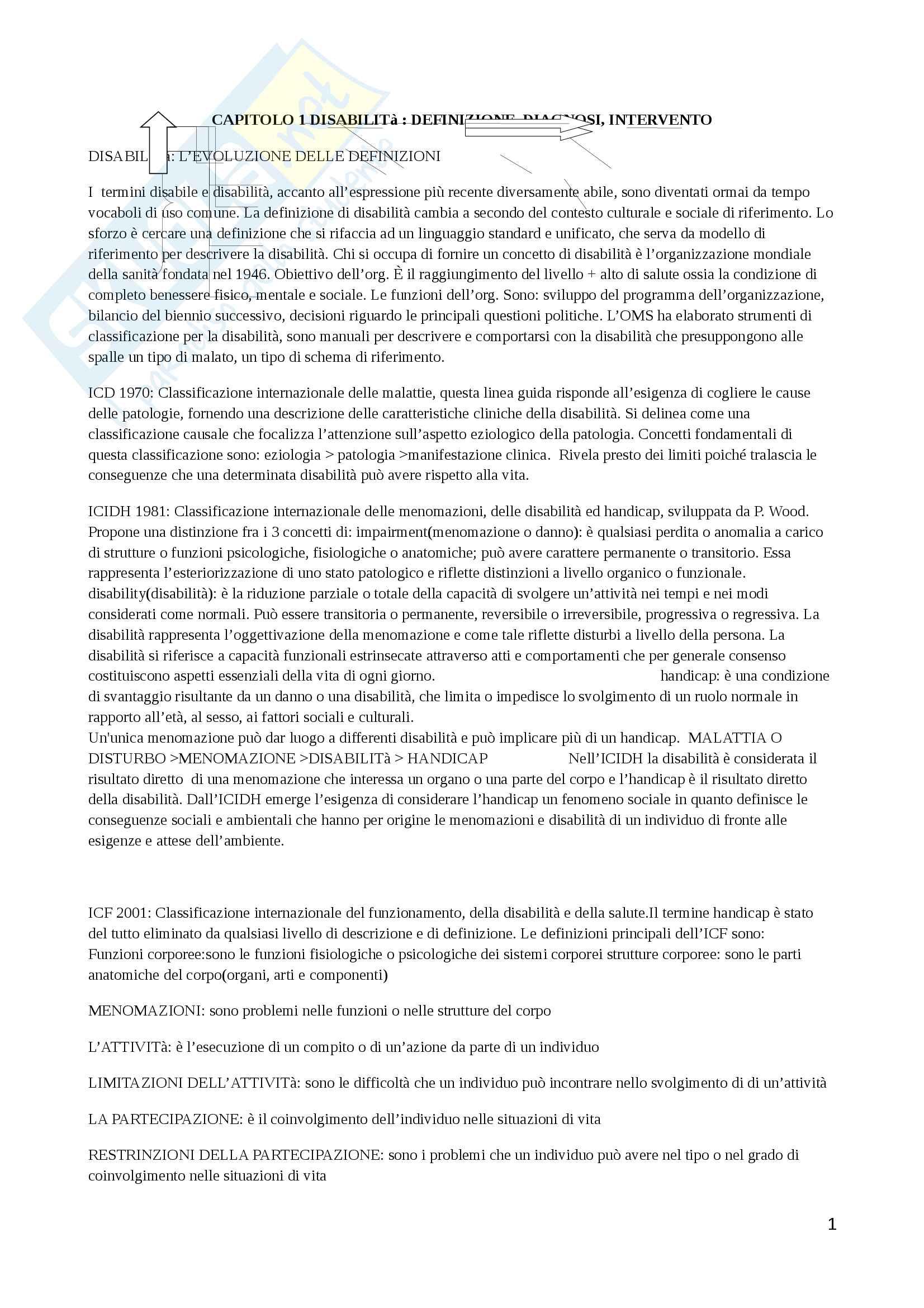 Riassunto esame Psicologia dell'handicap e della riabilitazione, Prof. Di Paola, libro consigliato Psicologia della disabilità e dei disturbi dello sviluppo, Zanobi, Usai