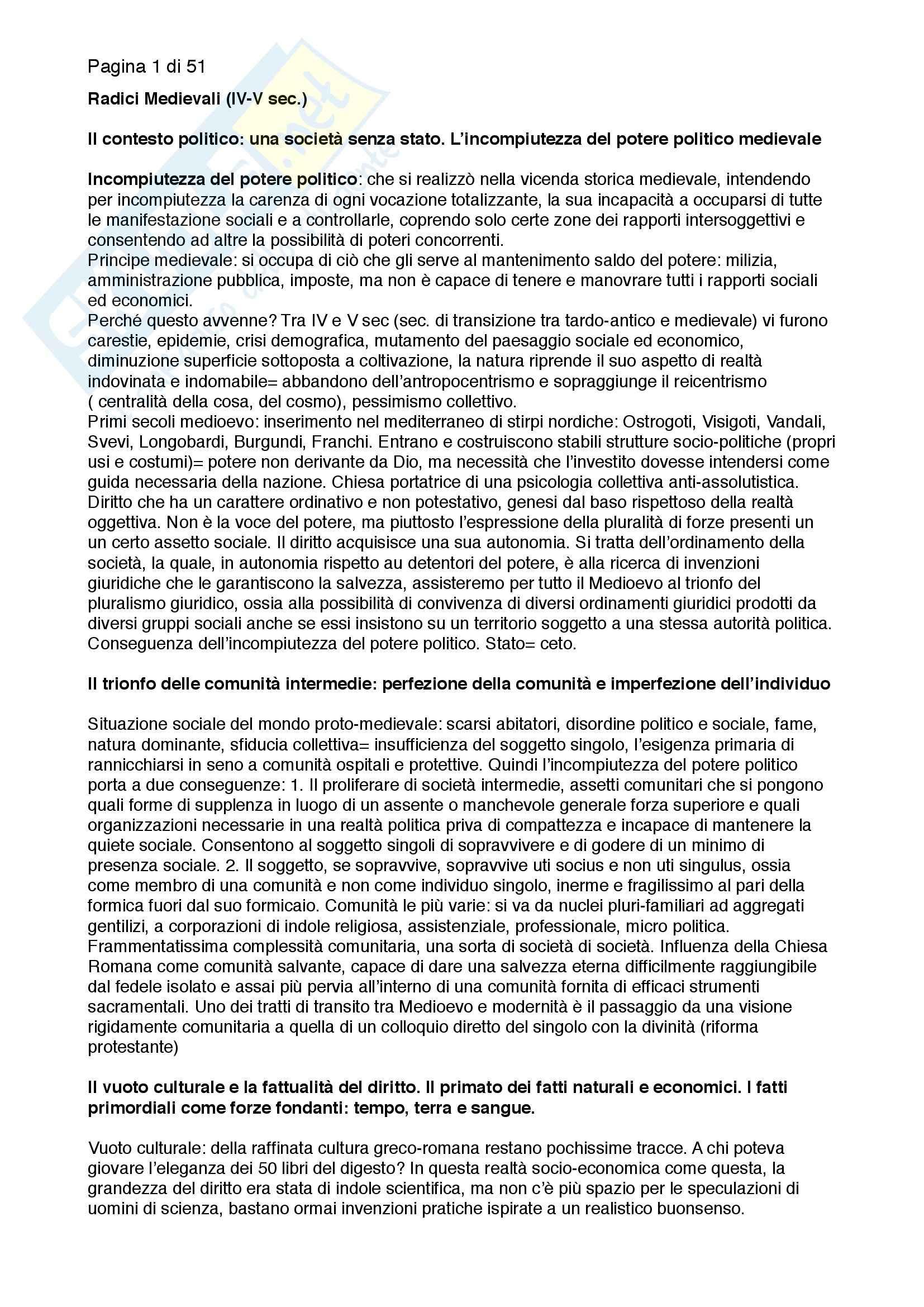 Riassunto esame Storia del Diritto Medievale e Moderno, prof. Cernigliaro, libro consigliato Europa del Diritto, Grossi