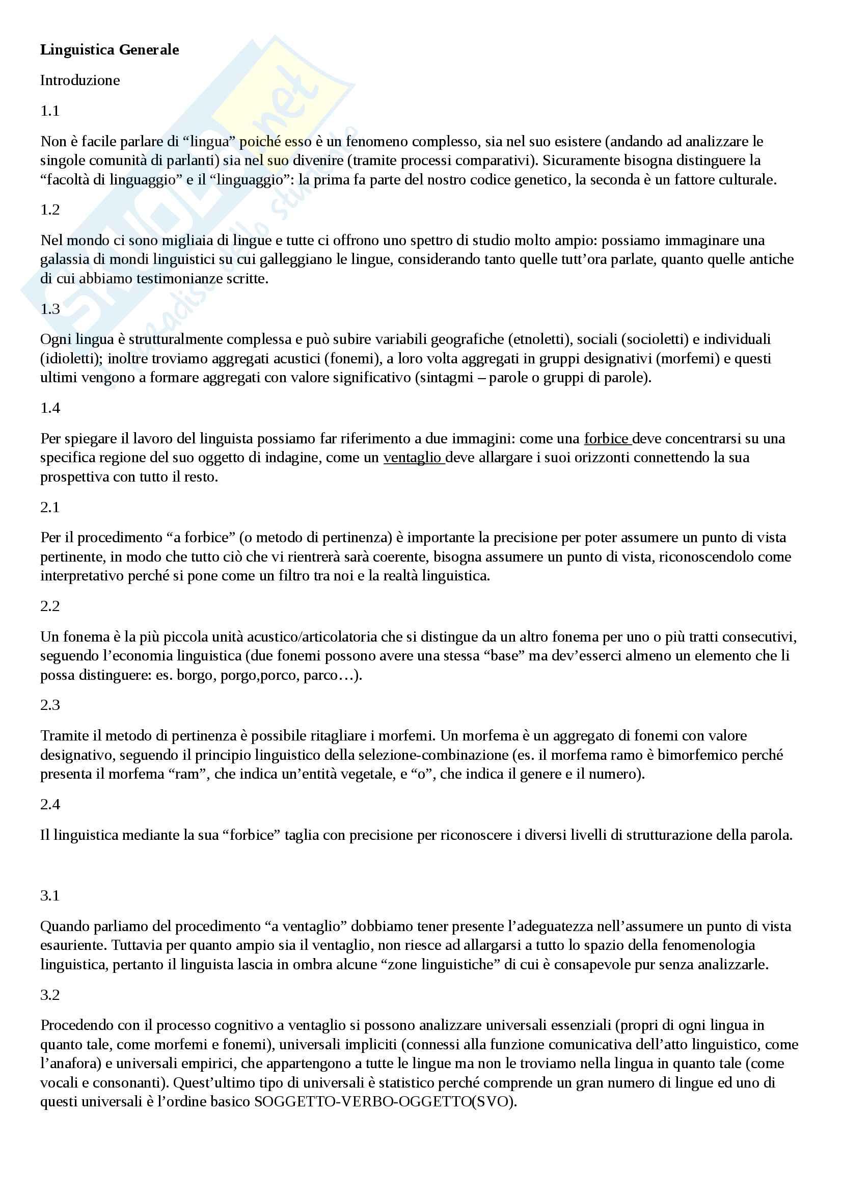 Riassunto esame Linguistica Generale, prof. Vallini, libro consigliato La Forbice e il Ventaglio, Domenico Silvestri