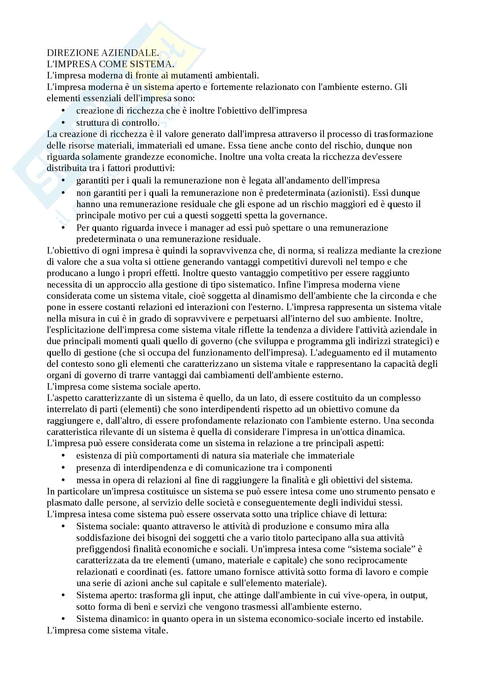"""Riassunto esame economia e direzione delle imprese, prof Schiesari, libro consigliato """"Economia e gestione delle imprese"""""""