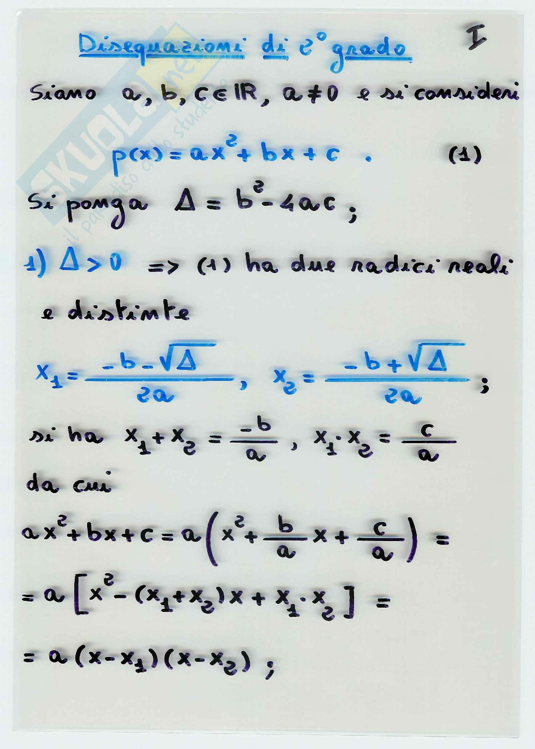 Matematica per l'economia - le disequazioni