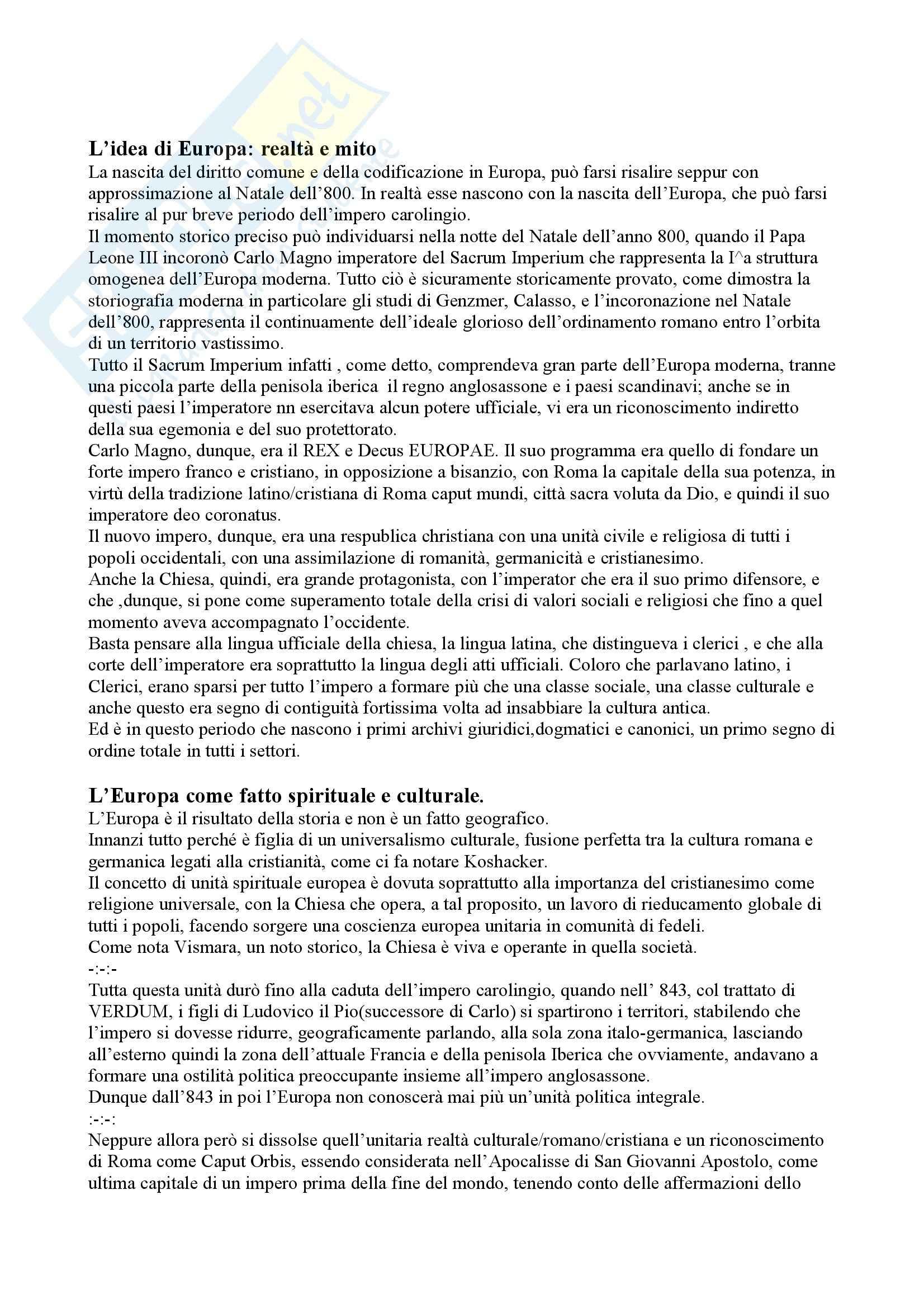Riassunto esame Storia del Diritto Medievale e Moderno, prof. Cassi, libro consigliato Storia del Diritto Medievale e Moderno, Cavanna
