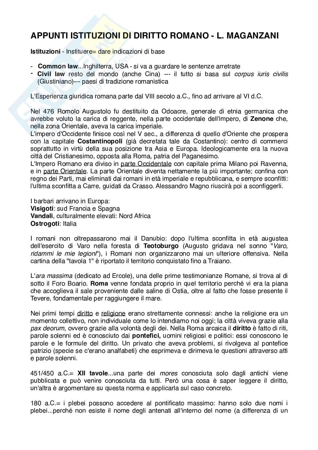 Appunti - Istituzioni di Diritto Romano (L. Maganzani)