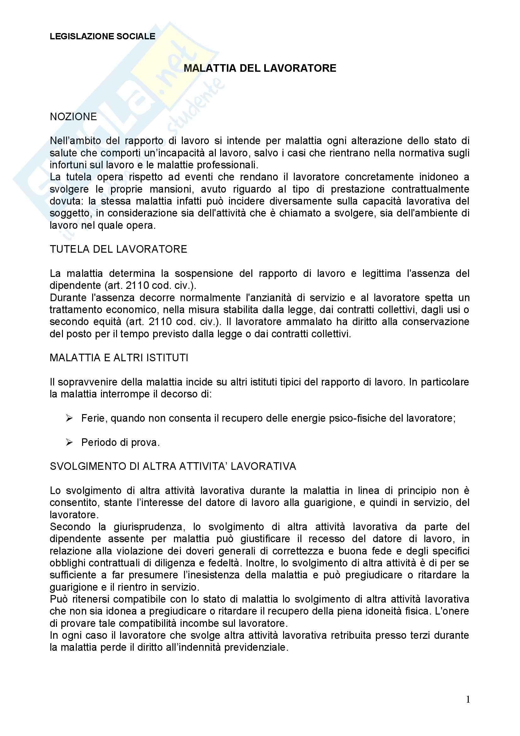 Diritto del lavoro - malattia del lavoratore