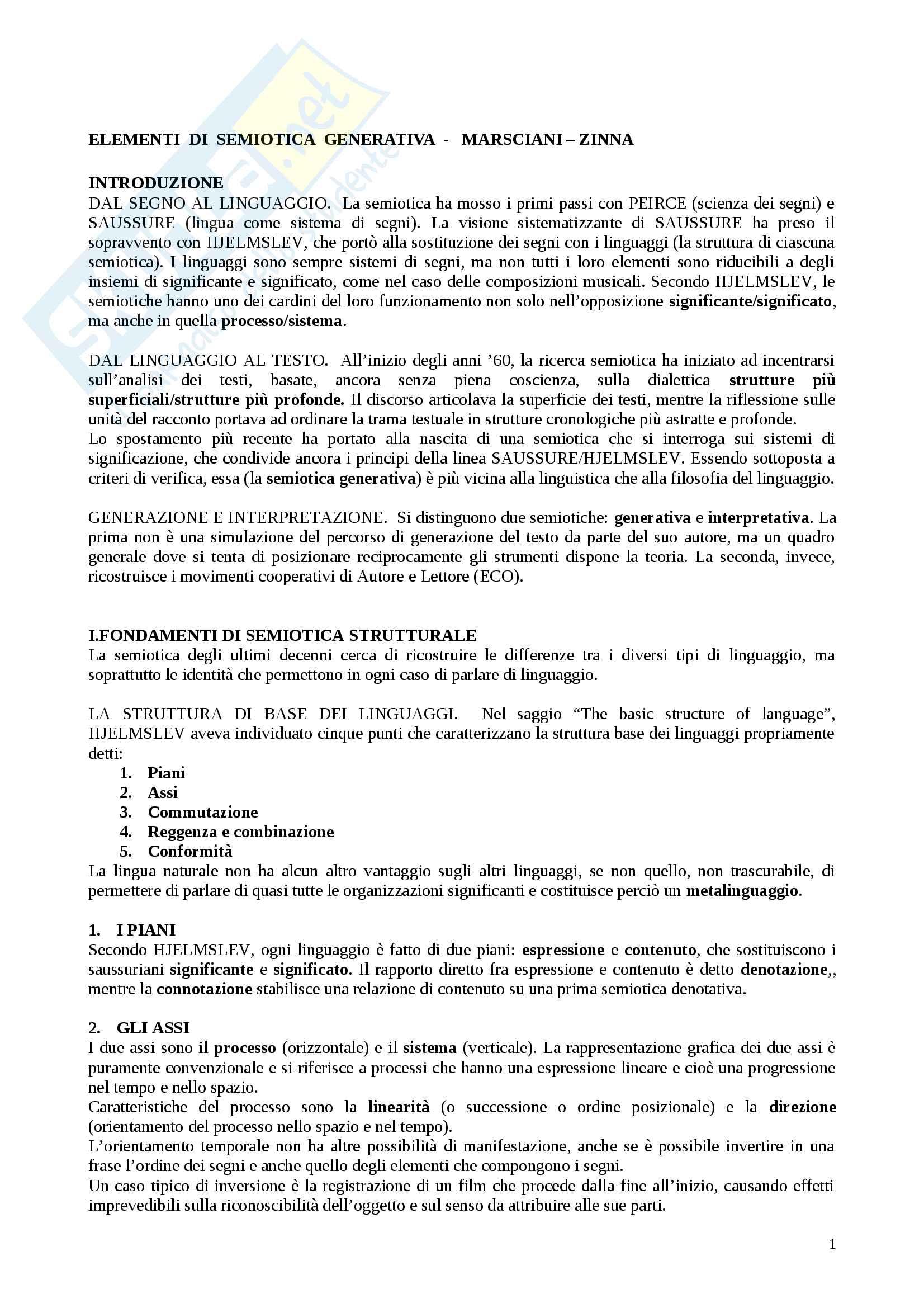 Riassunto esame Semiotica,docente Marsciani,libro consigliato Elementi Di Semiotica Generativa,Marsciani-Zinna