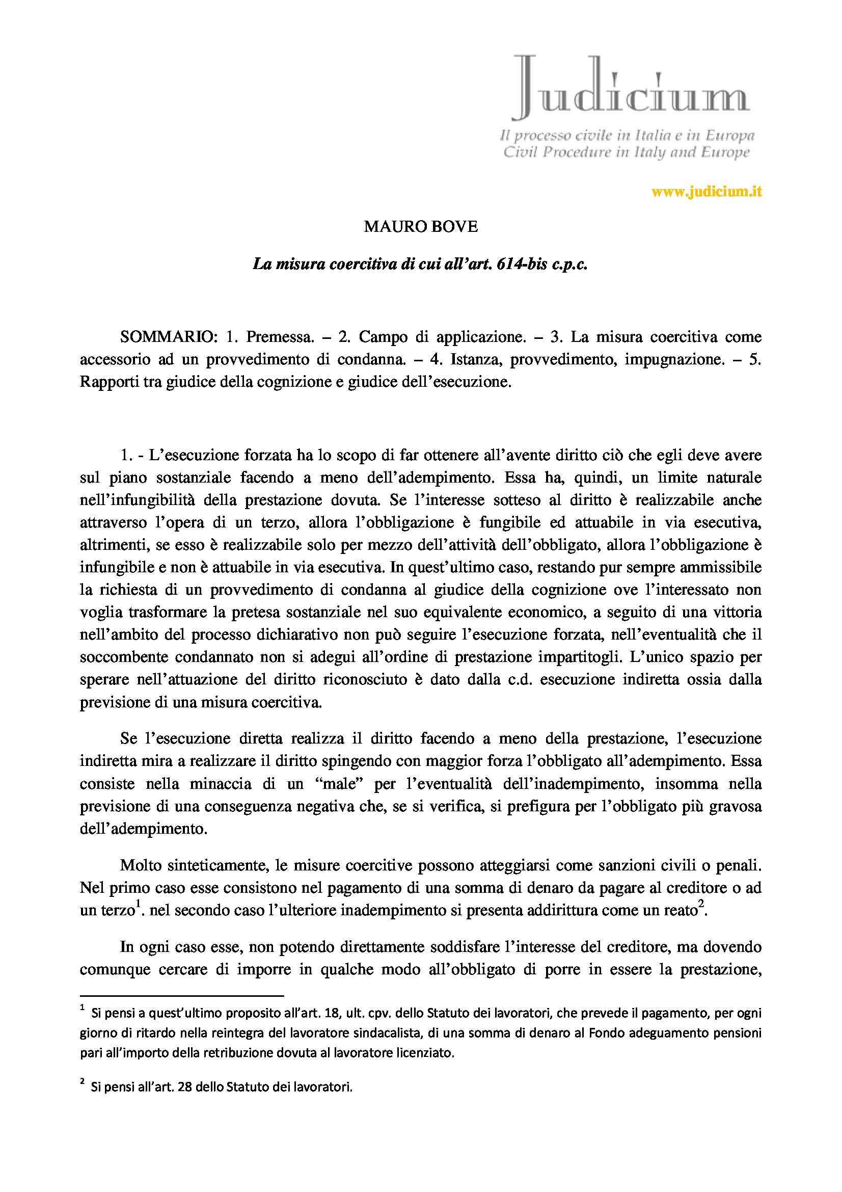 Esecuzione forzata - Art. 614 bis cpc
