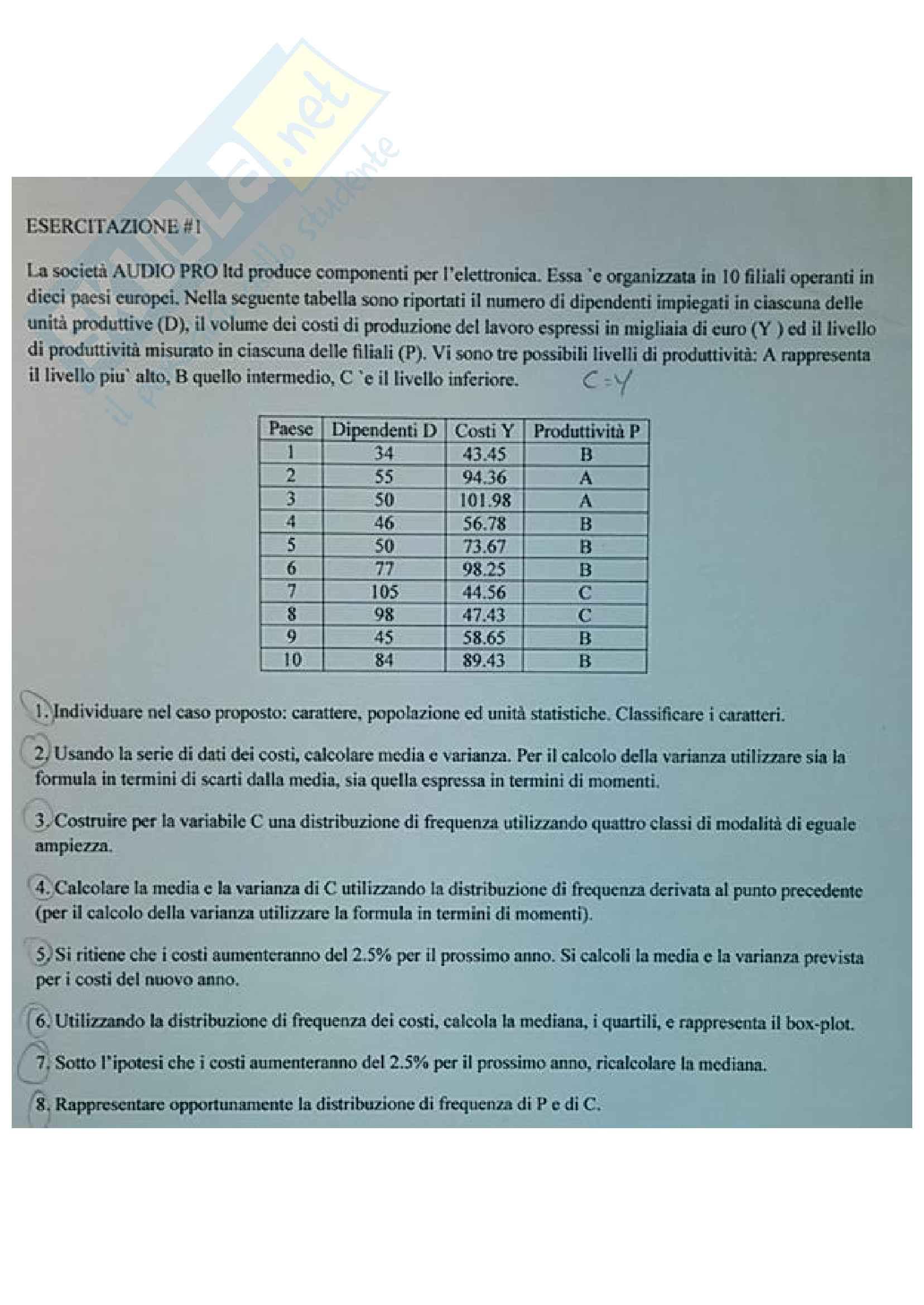 Esercizi di statistica: media, varianza, covarianza, coefficienti di regressione, variabili casuali, correlazione, modello di regressione lineare, probabilità, test delle ipotesi