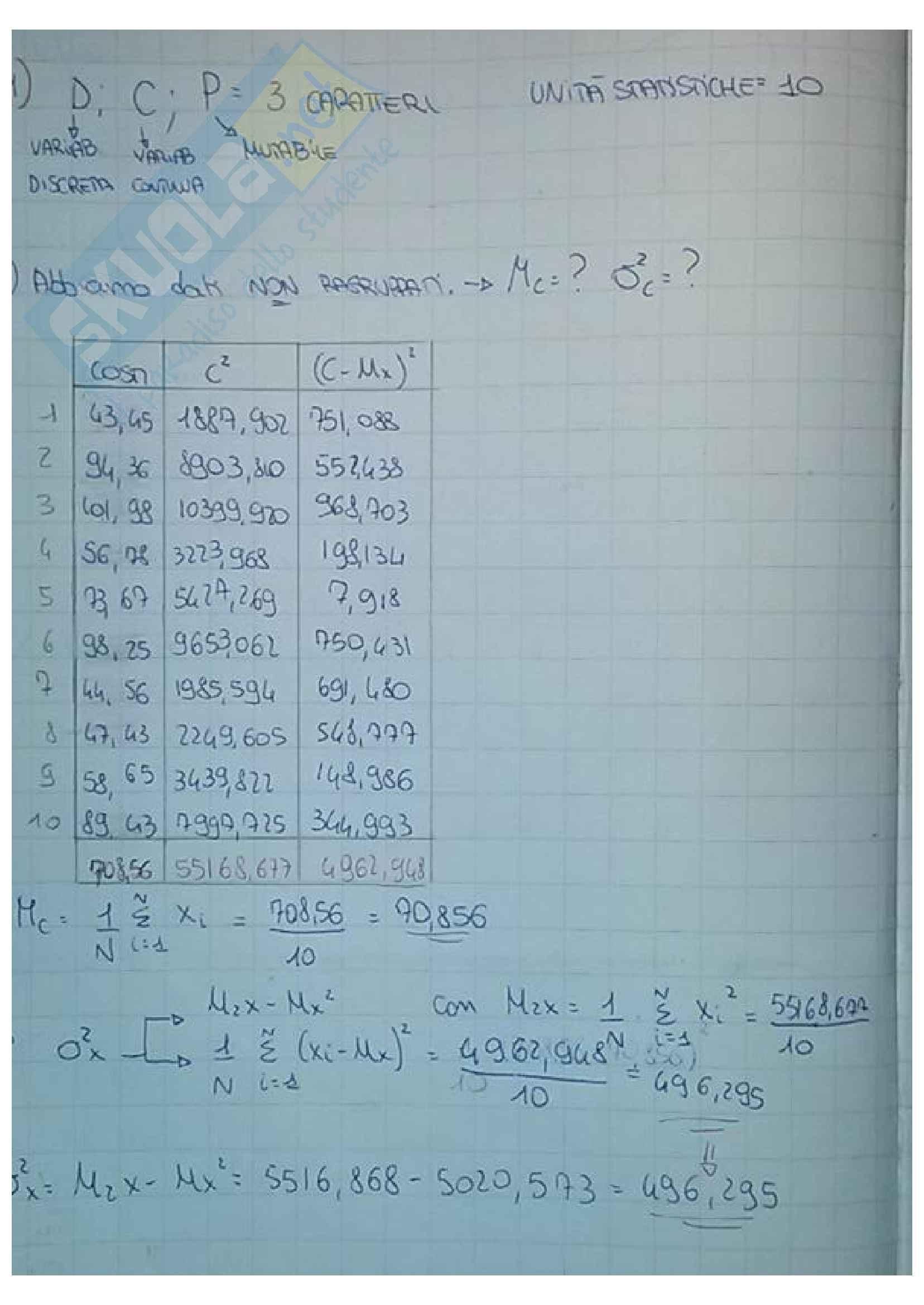 Esercizi di statistica: media, varianza, covarianza, coefficienti di regressione, variabili casuali, correlazione, modello di regressione lineare, probabilità, test delle ipotesi Pag. 2