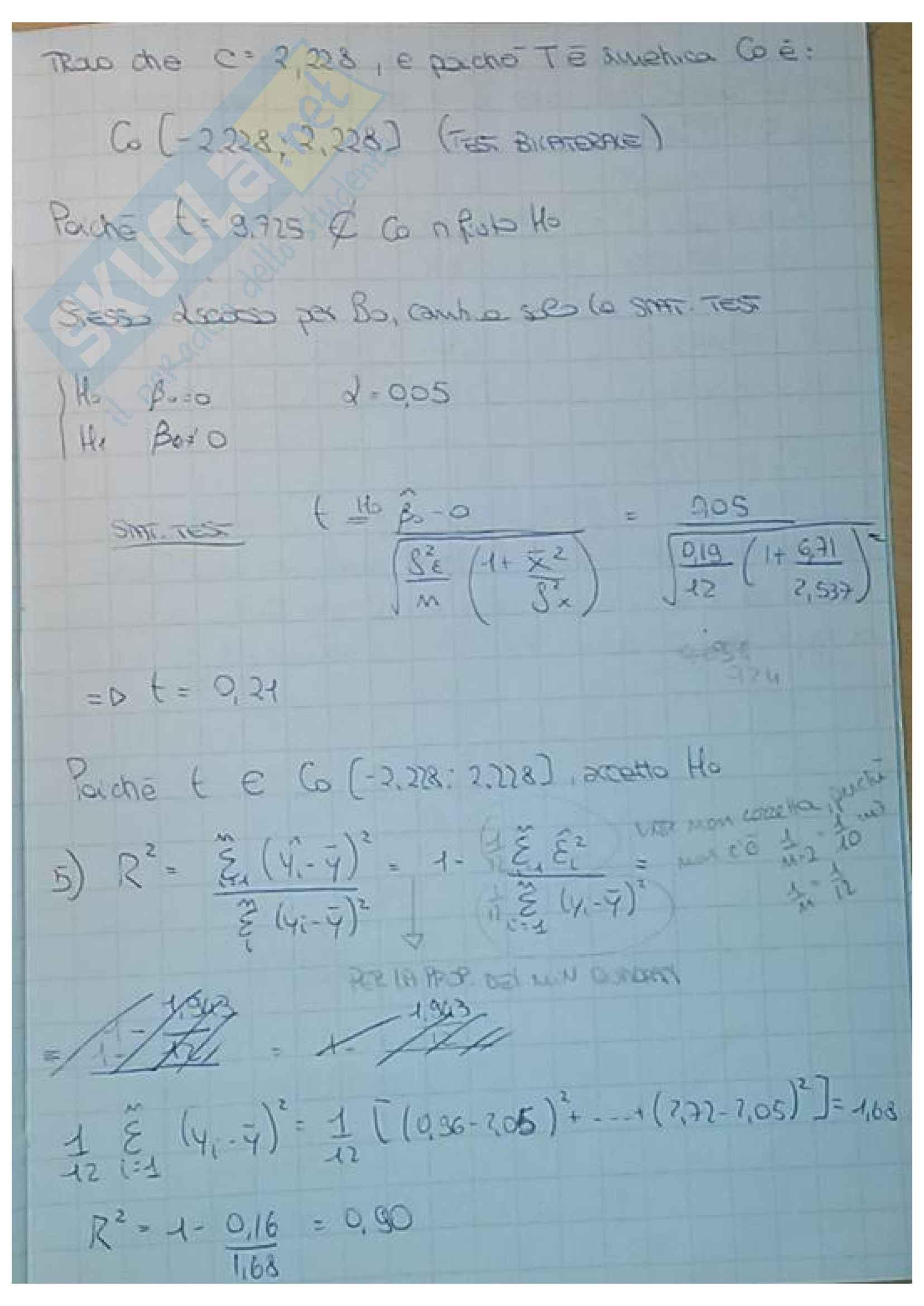 Esercizi di statistica: media, varianza, covarianza, coefficienti di regressione, variabili casuali, correlazione, modello di regressione lineare, probabilità, test delle ipotesi Pag. 46