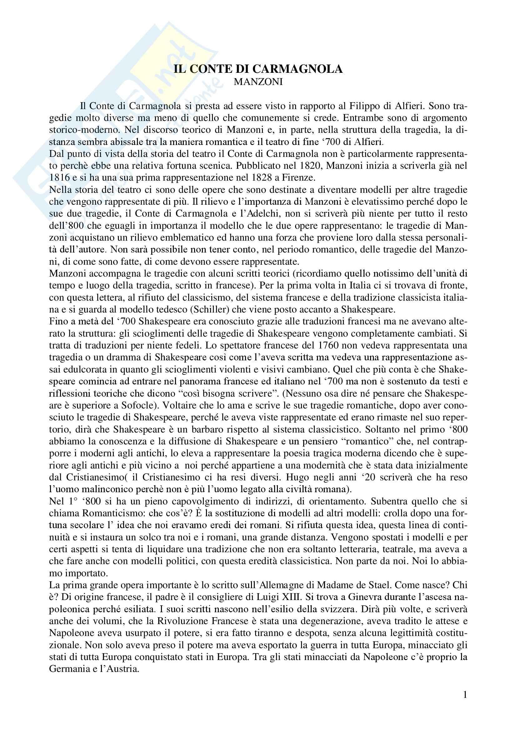 Letteratura teatrale italiana - Il conte di Carmagnola