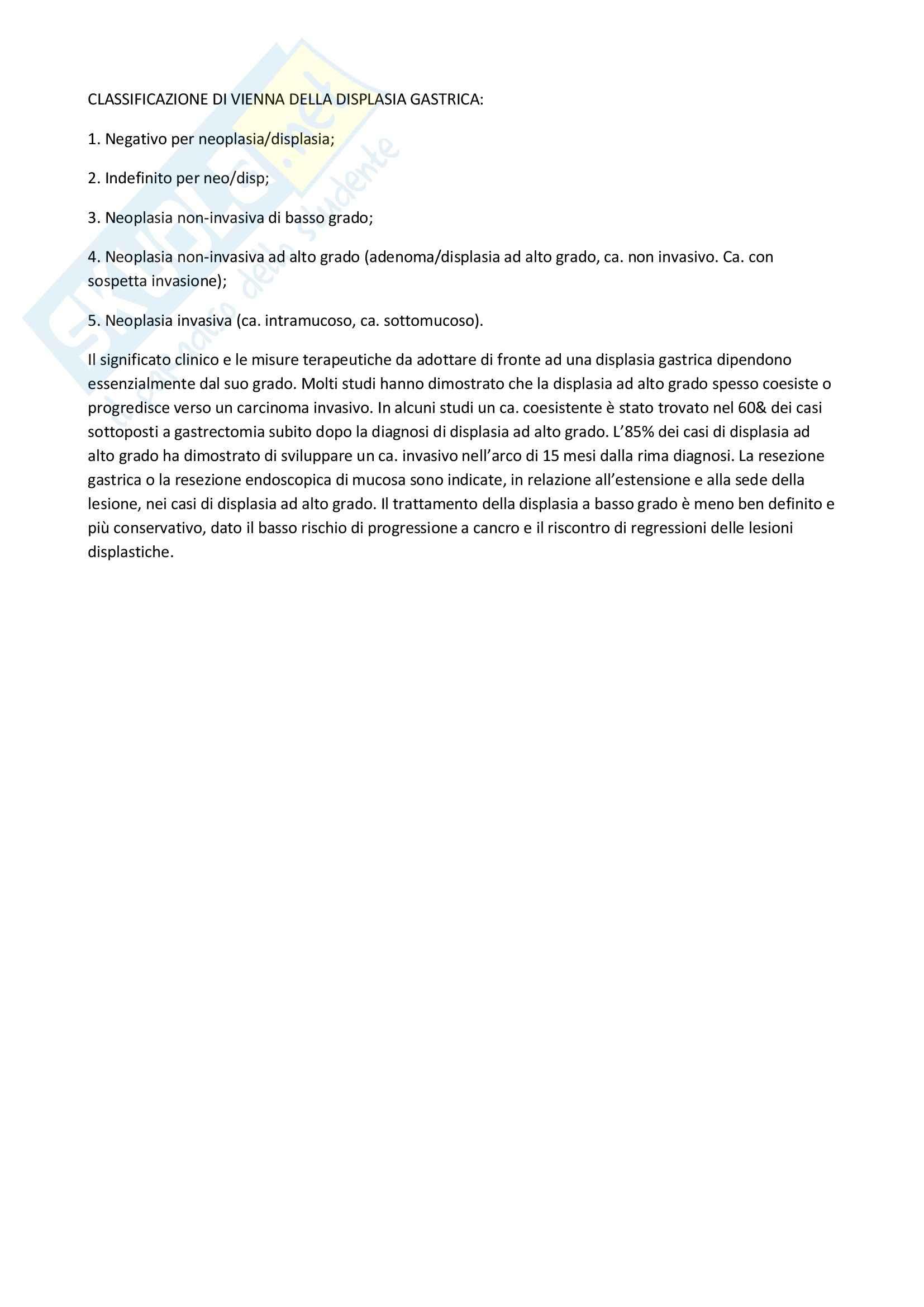 Anatomia patologica - la classificazione di Vienna della displasia gastrica