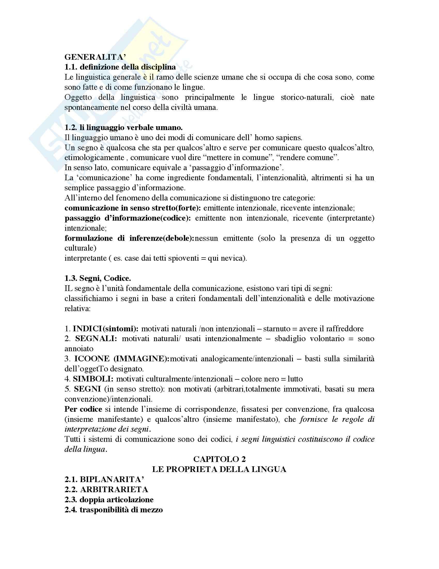 Riassunto esame Linguistica generale, prof. Pannain, libro consigliato Corso elementare di linguistica generale, Berruto