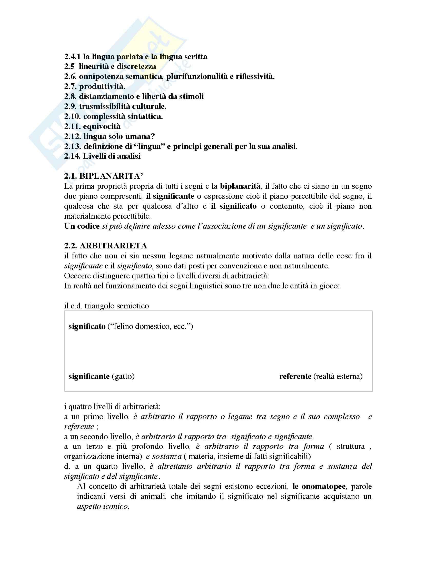 Riassunto esame Linguistica generale, prof. Pannain, libro consigliato Corso elementare di linguistica generale, Berruto Pag. 2