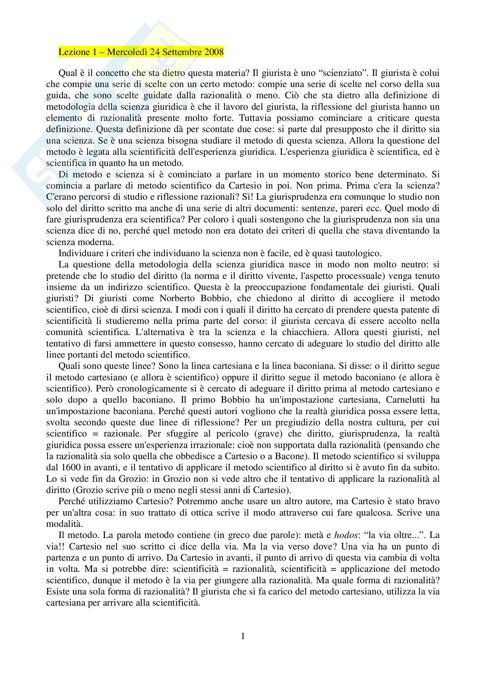 Metodologia della scienza giuridica - Appunti
