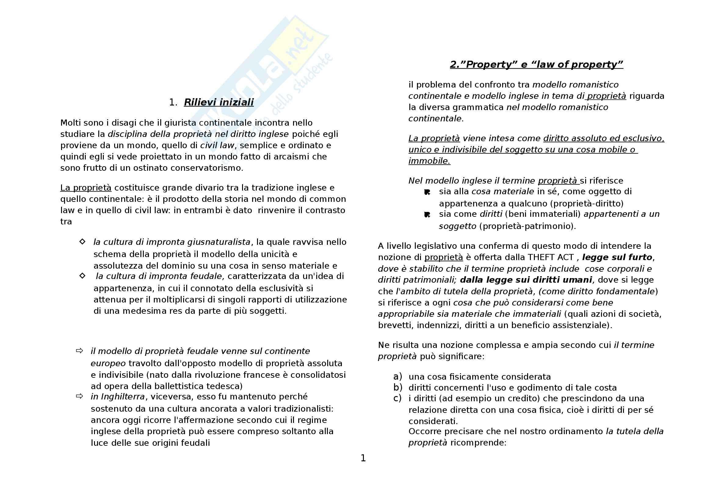 Riassunto esame Diritto Privato Comparato, prof. Di Landro, libro consigliato Il Modello Inglese di Proprietà di Moccia