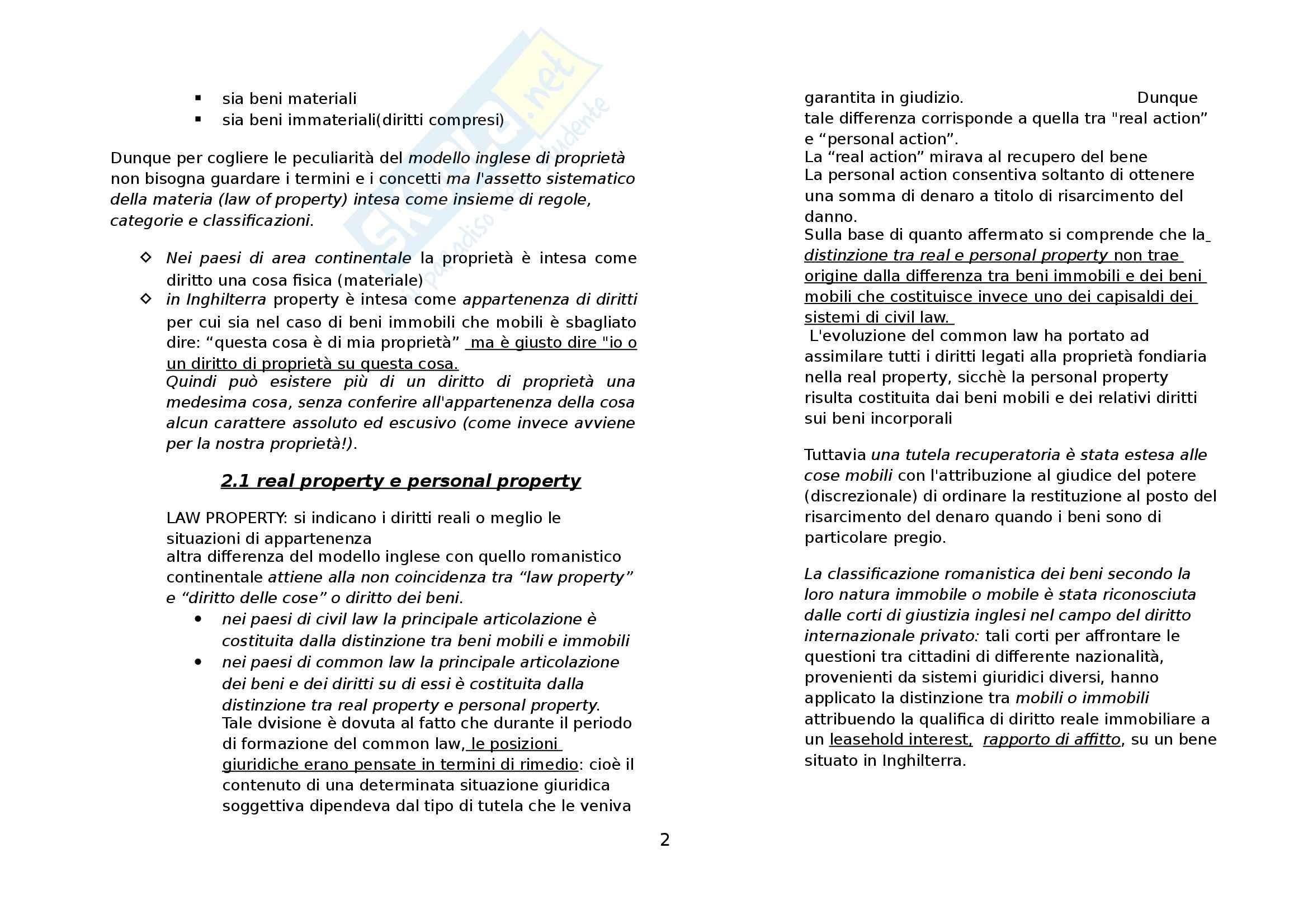 Riassunto esame Diritto Privato Comparato, prof. Di Landro, libro consigliato Il Modello Inglese di Proprietà di Moccia Pag. 2