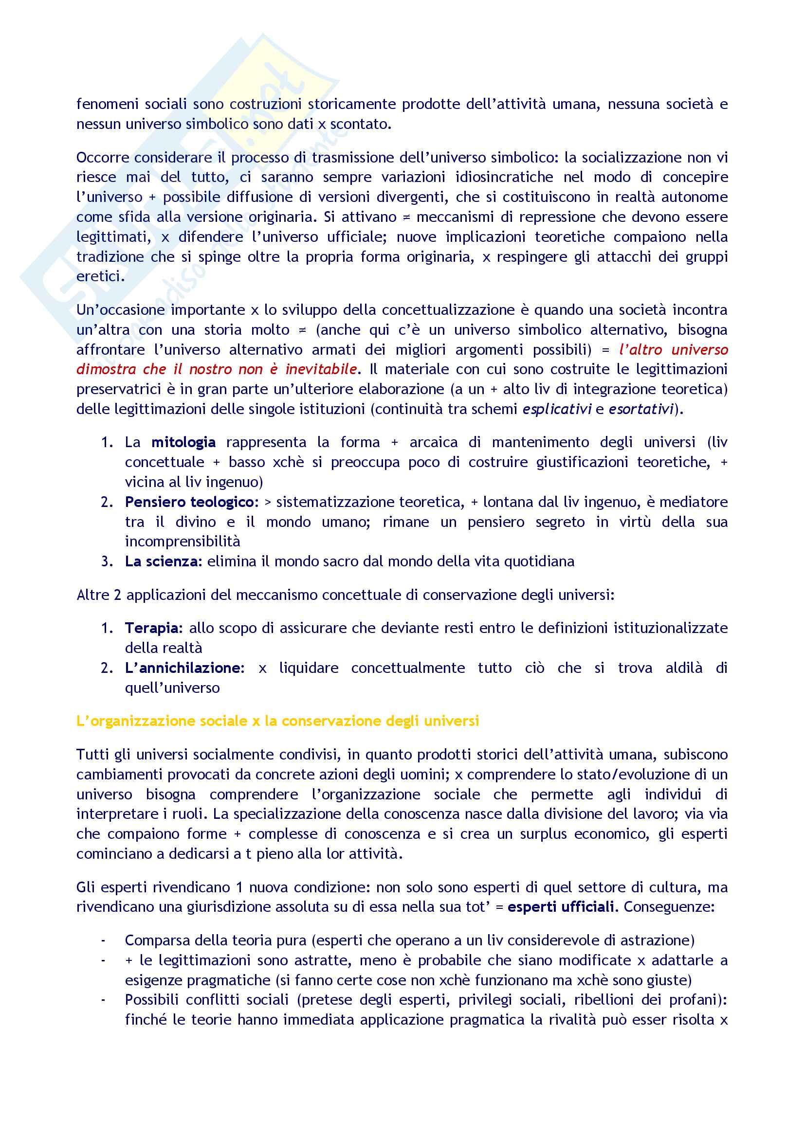 Sunto per l'esame di Sociologia della conoscenza, prof. Borgna. Libro consigliato La realtà come costruzione sociale, di Berger , Luckmann Pag. 11