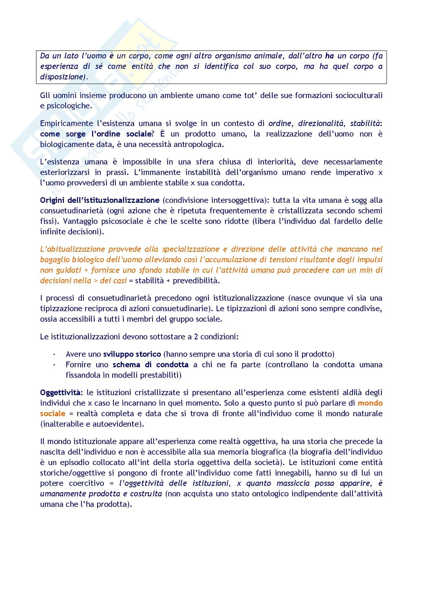 Sunto per l'esame di Sociologia della conoscenza, prof. Borgna. Libro consigliato La realtà come costruzione sociale, di Berger , Luckmann Pag. 6
