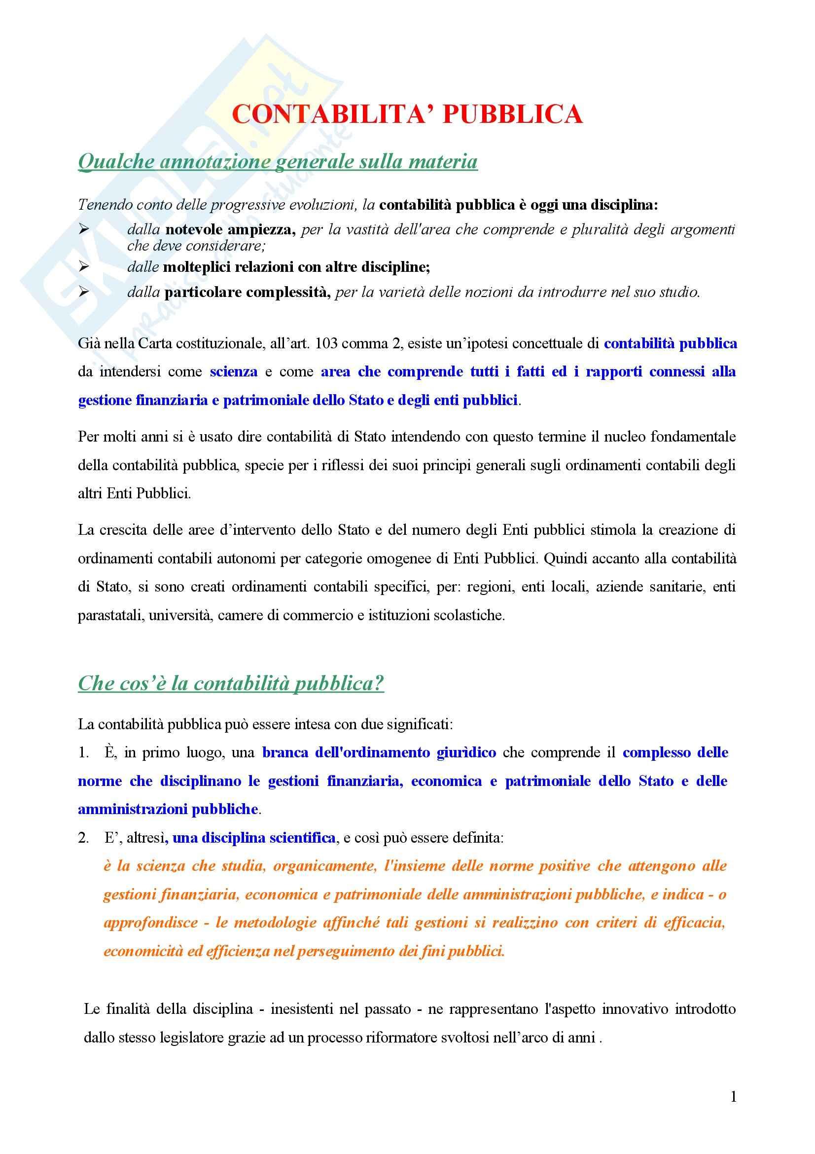 Contabilità pubblica - Compendio