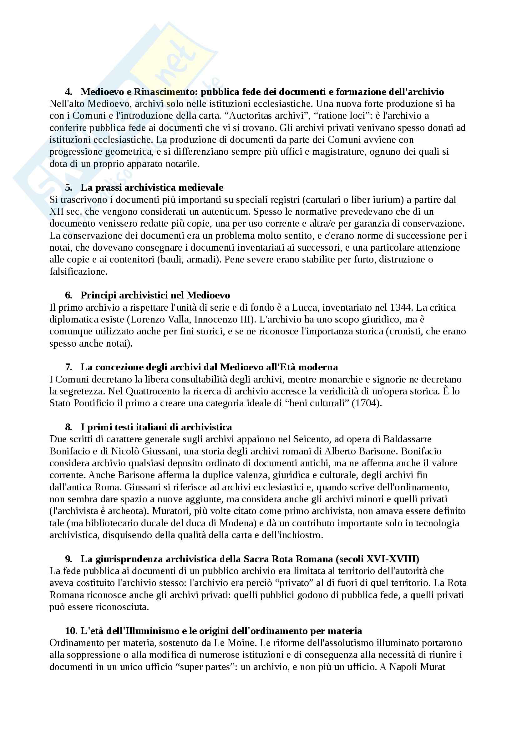 Riassunto esame Archivistica Generale, prof. Bologna, libro consigliato Storia dell'Archivistica Italiana, Lodolini
