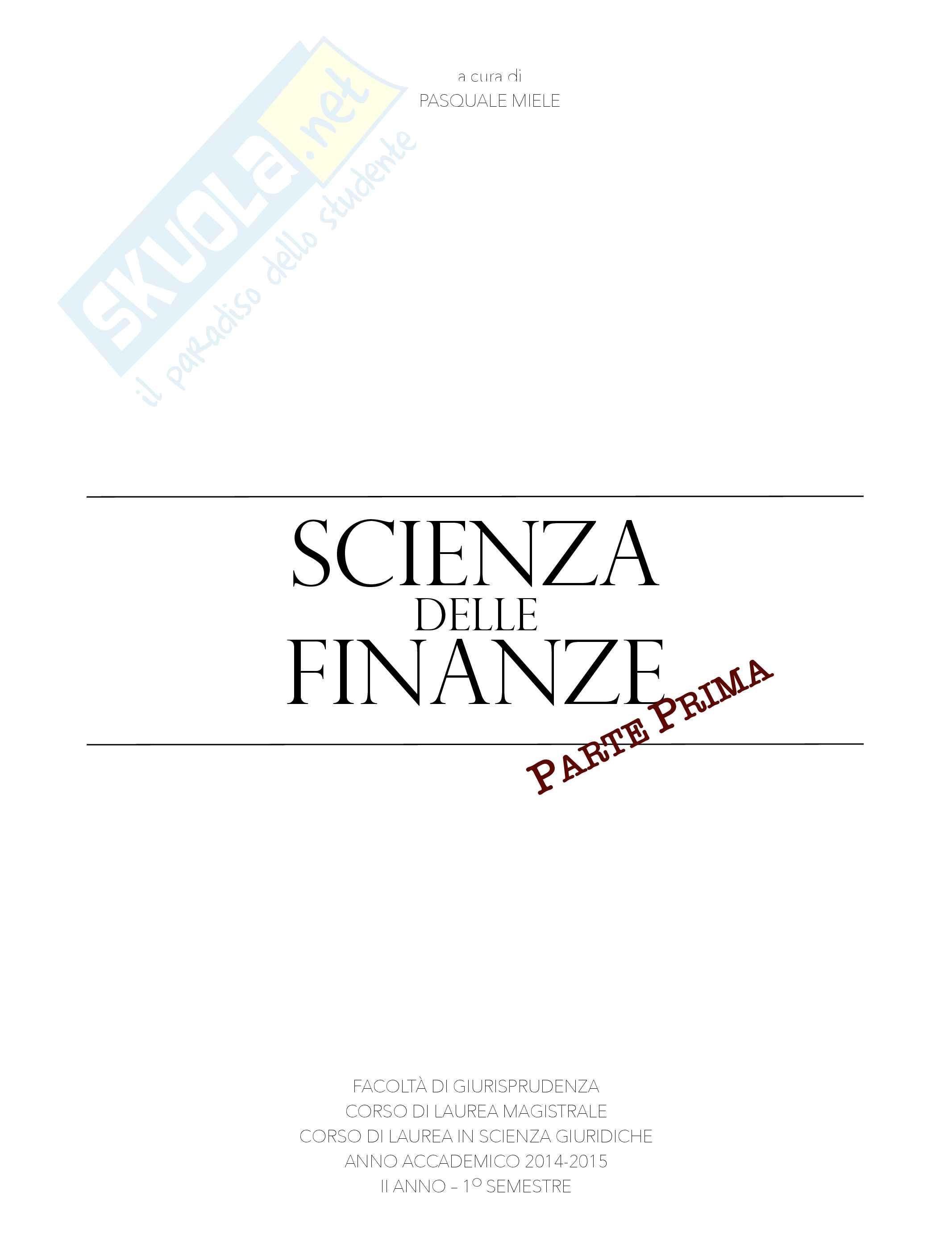 Scienza delle Finanze - Prima parte