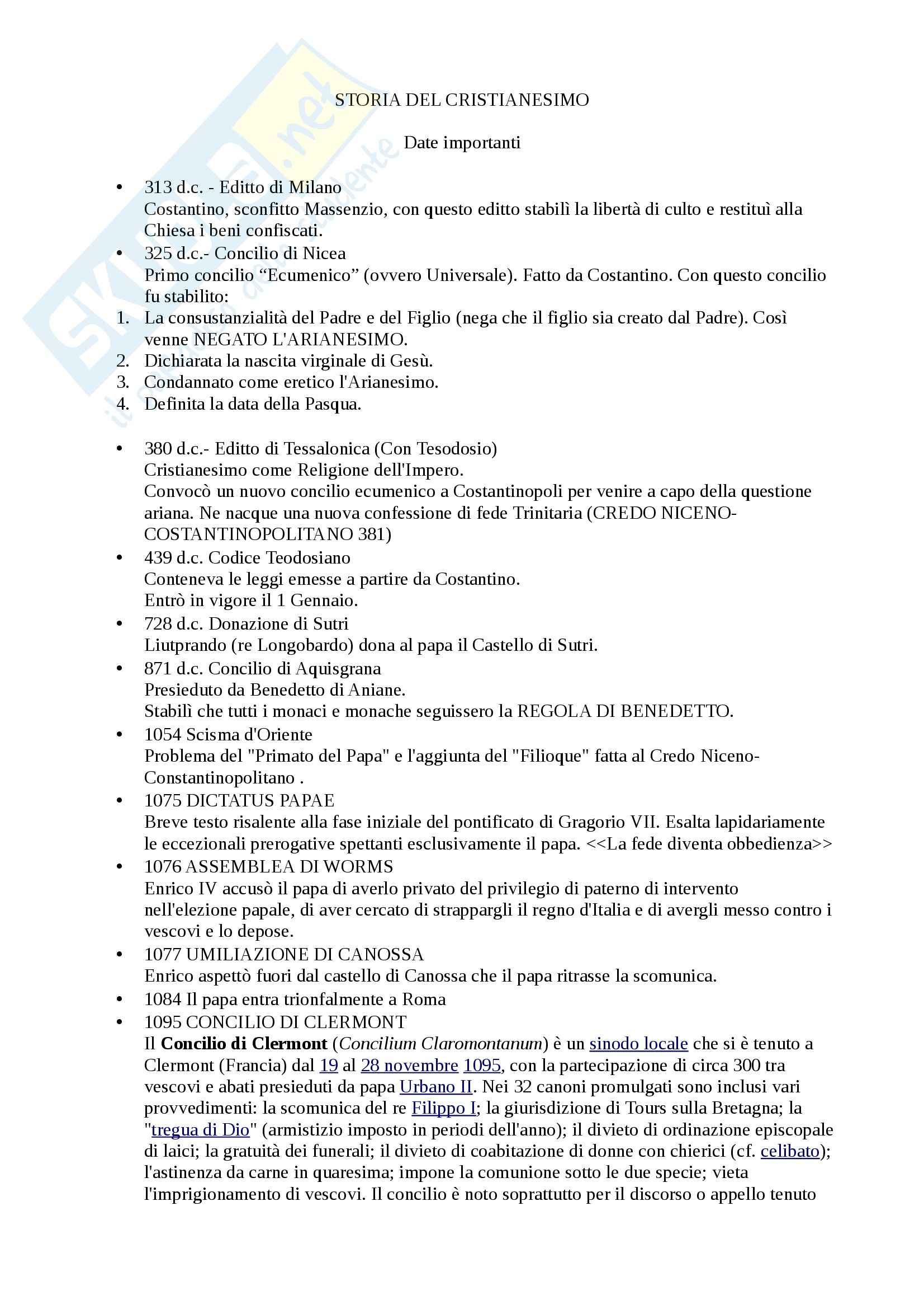Storia del Cristianesimo e delle Chiese - date importanti