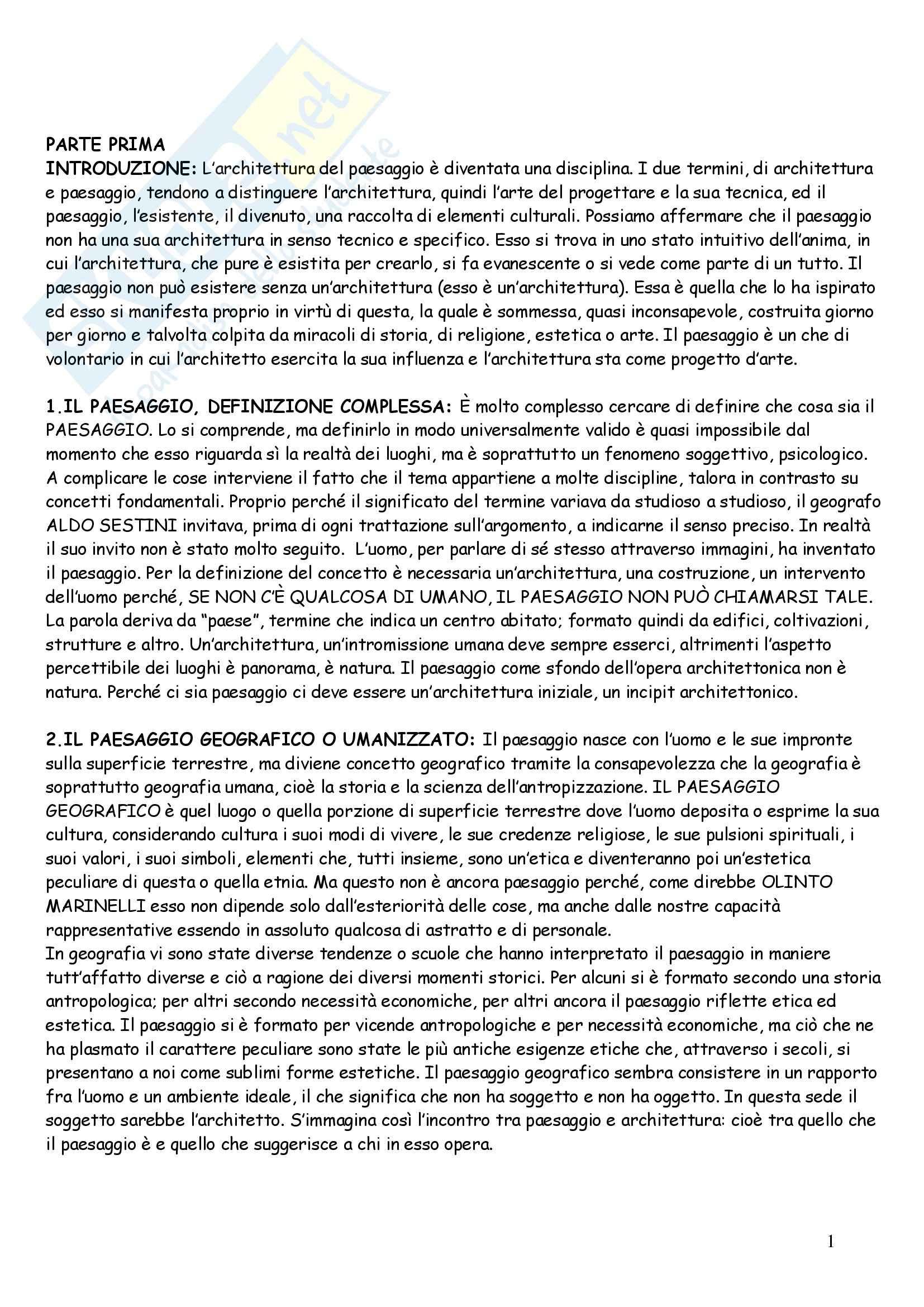 Riassunto esame Geografia: Architettura del paesaggio, prof. Andreotti