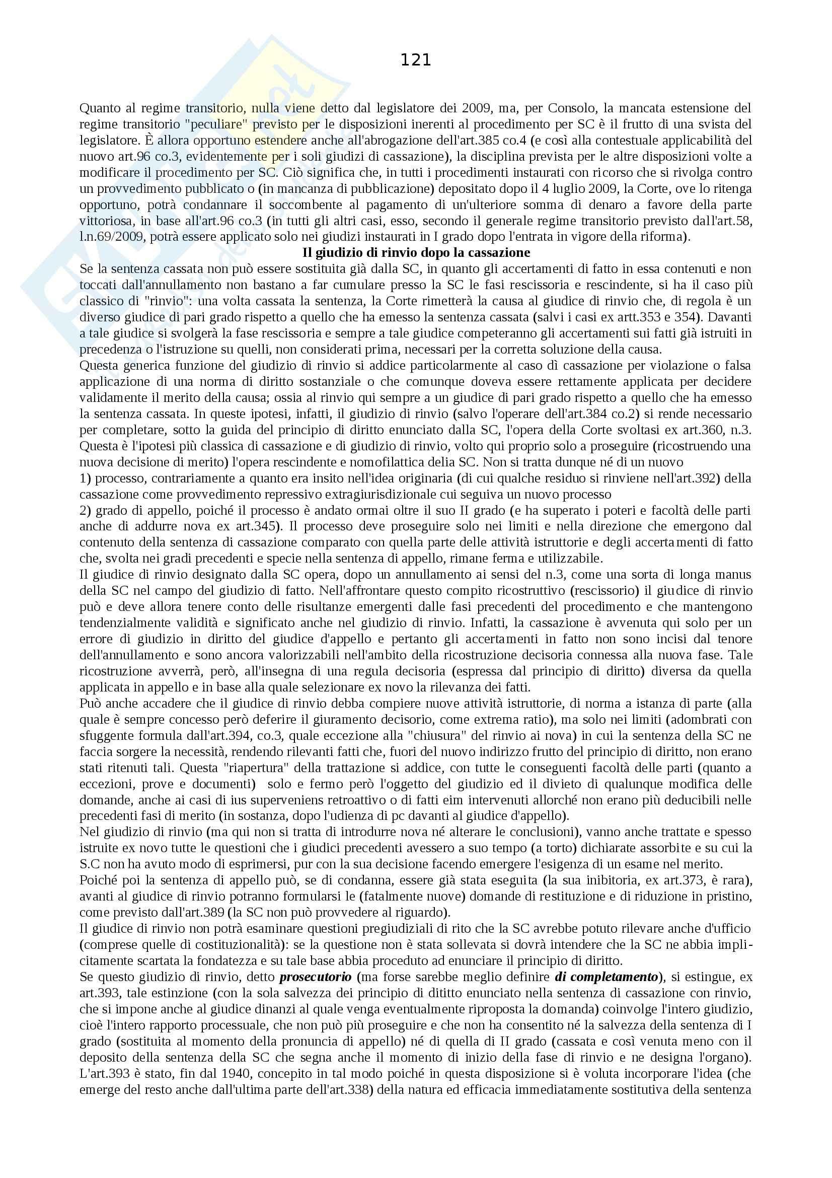 Riassunto esame Procedura Civile, prof. Auletta, libro consigliato Manuale di Procedura Civile, Consolo Pag. 121