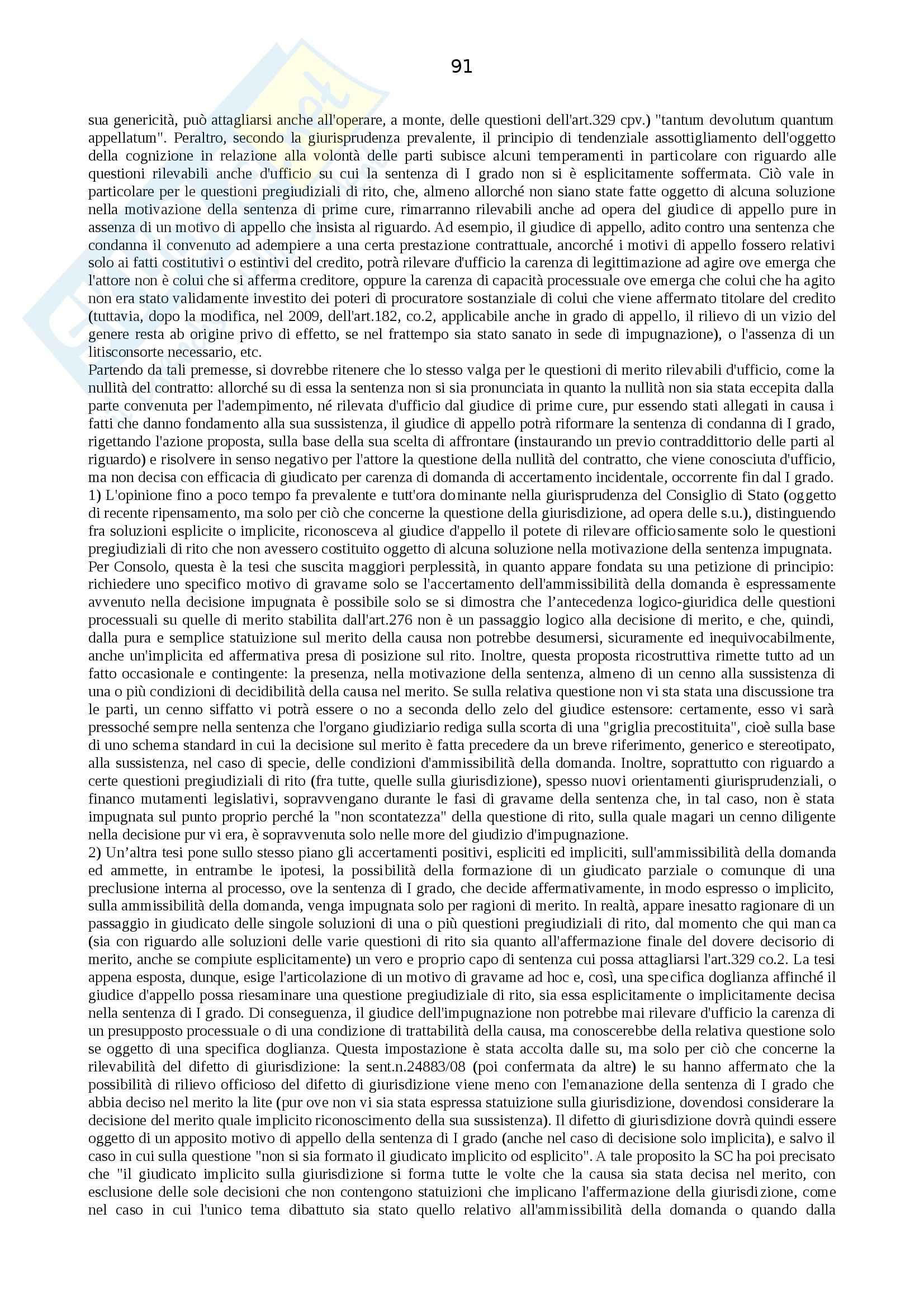 Riassunto esame Procedura Civile, prof. Auletta, libro consigliato Manuale di Procedura Civile, Consolo Pag. 91