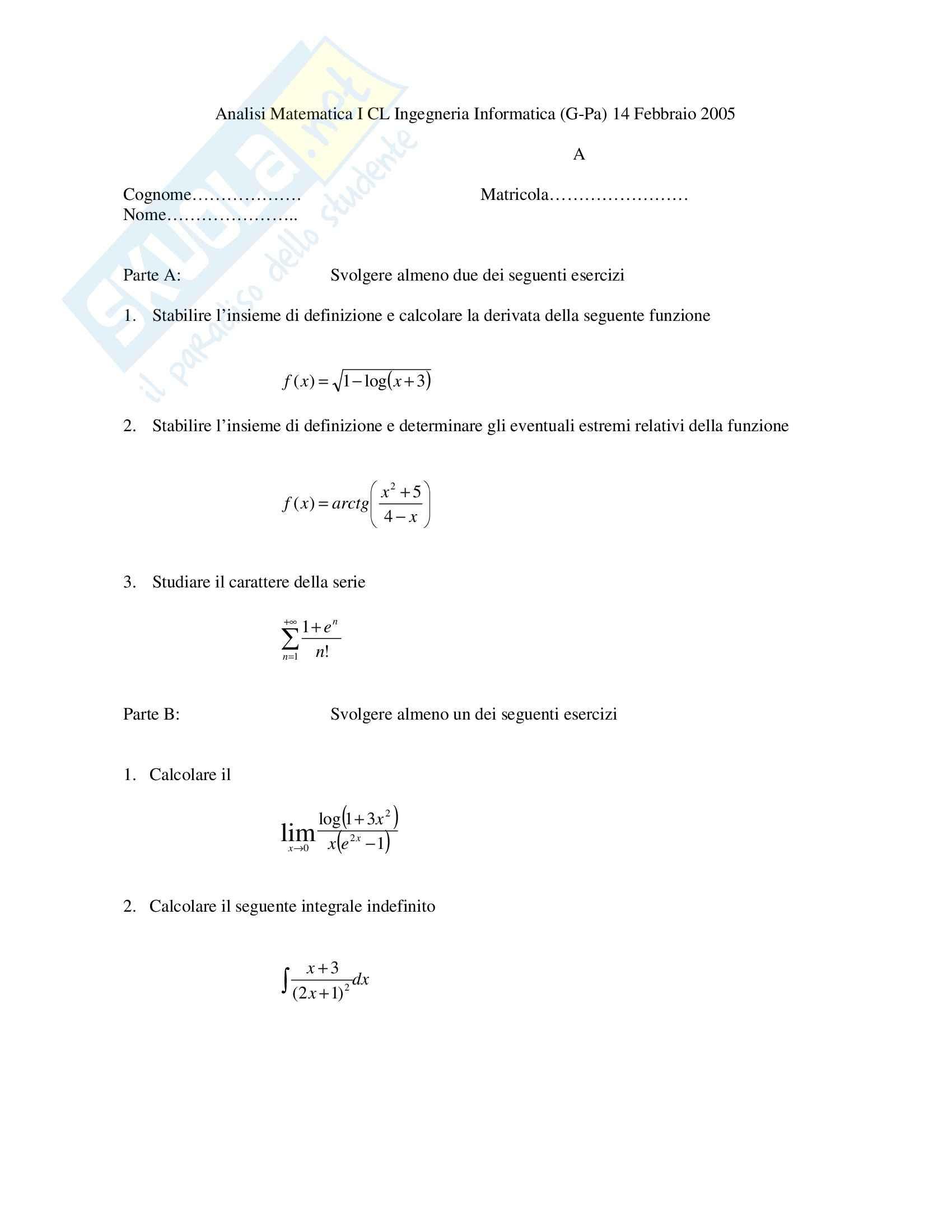 Analisi 1 - Esercizi