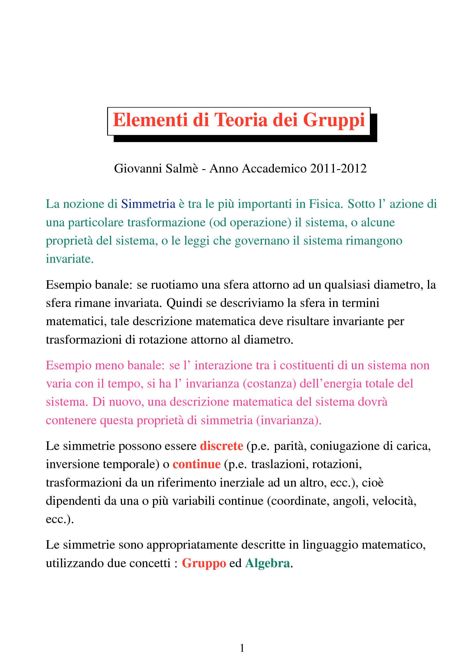Teoria dei gruppi - Elementi
