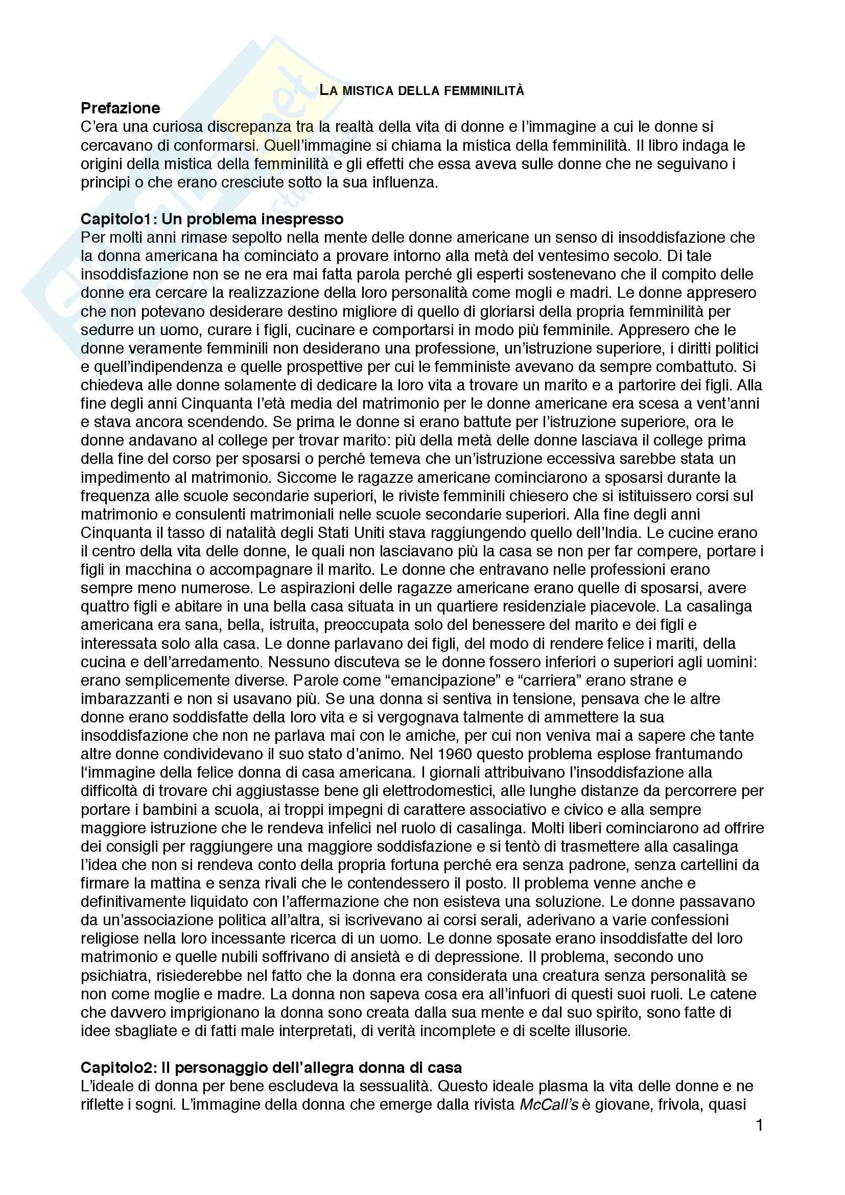 """Riassunto esame Sociologia dell'educazione, prof. Andrea Spini, libro consigliato """"La mistica della femminilità"""", Betty Friedan"""