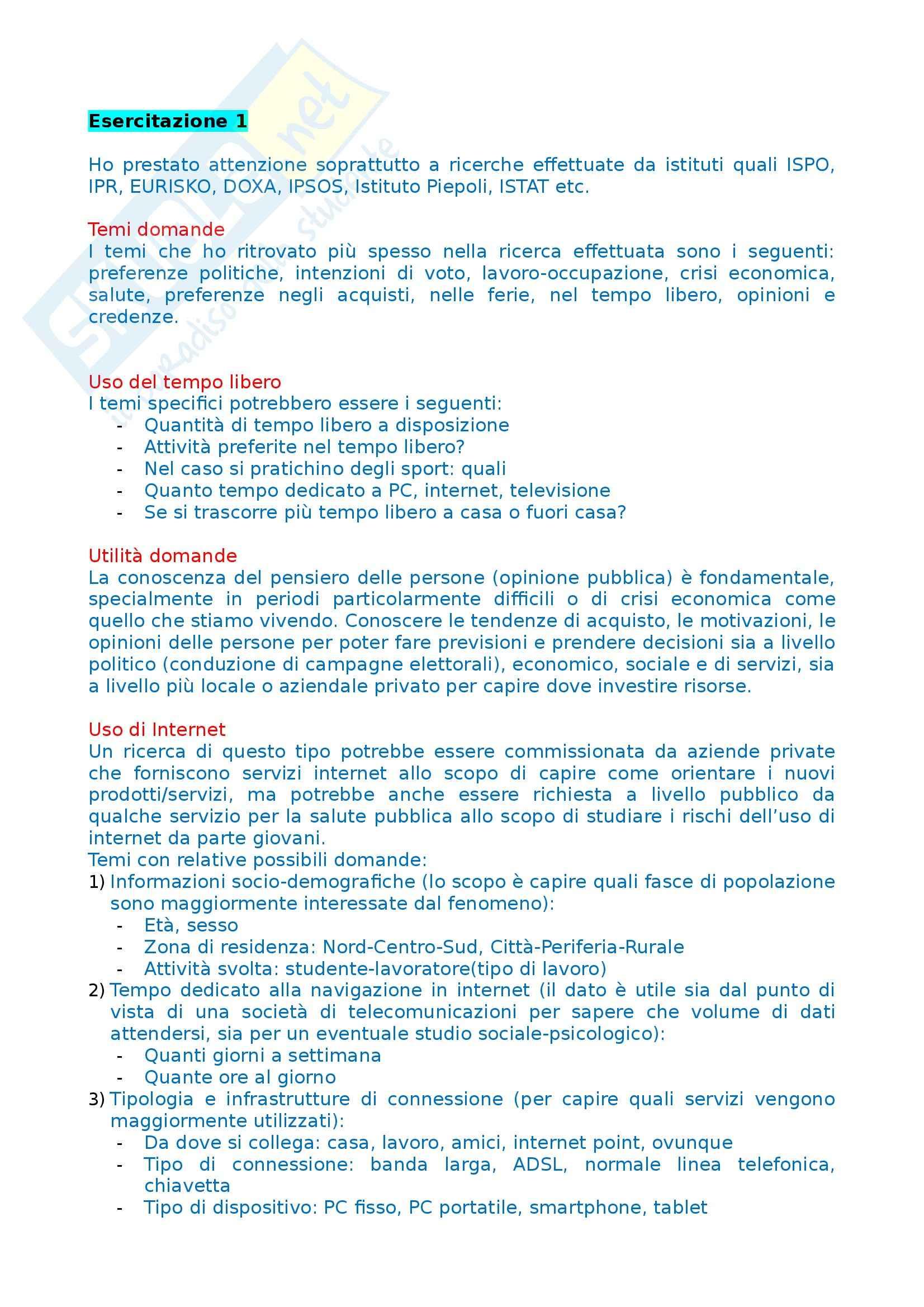 Tecniche dell'intervista e del questionario - Esercitazione