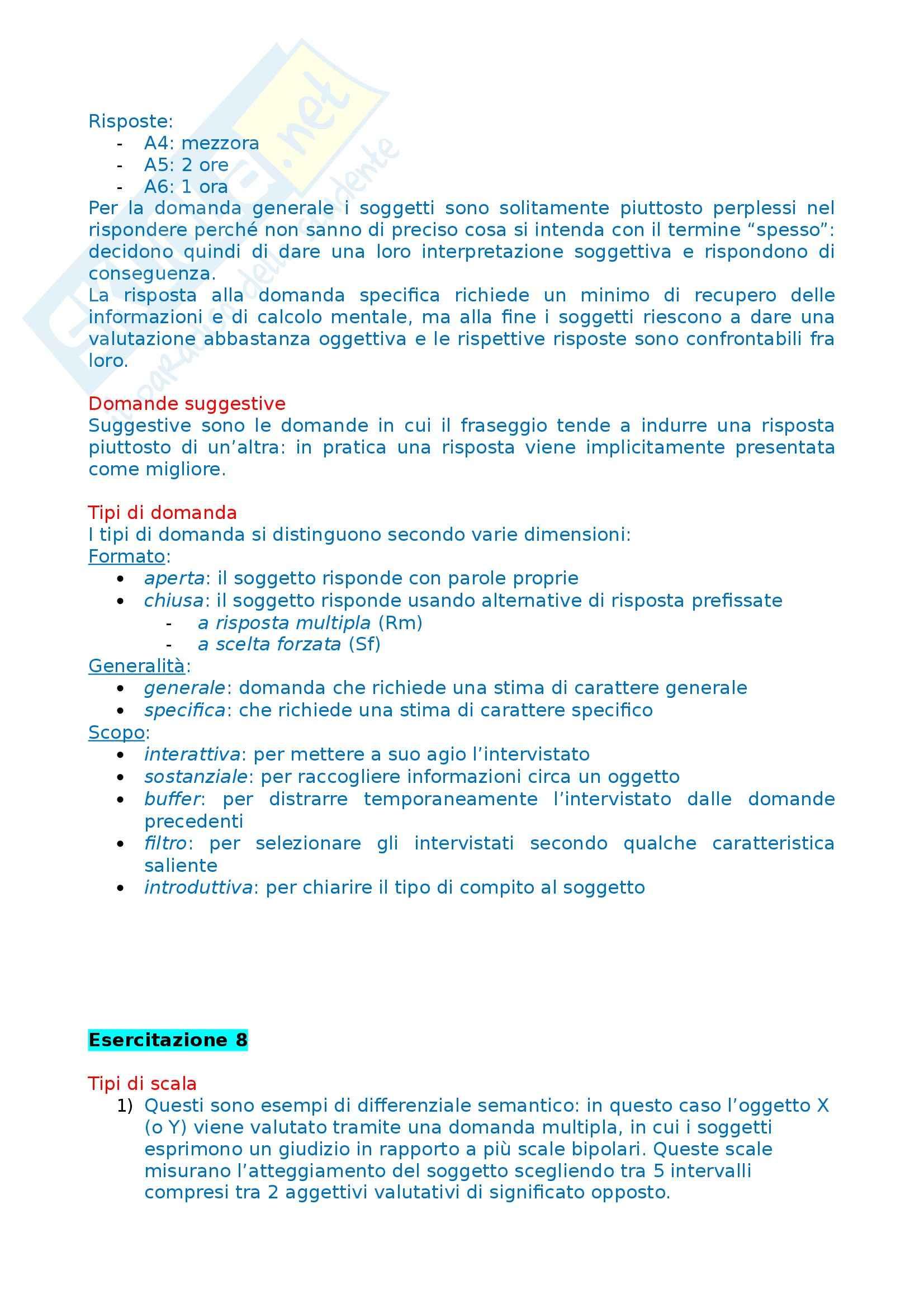 Tecniche dell'intervista e del questionario - Esercitazione Pag. 16