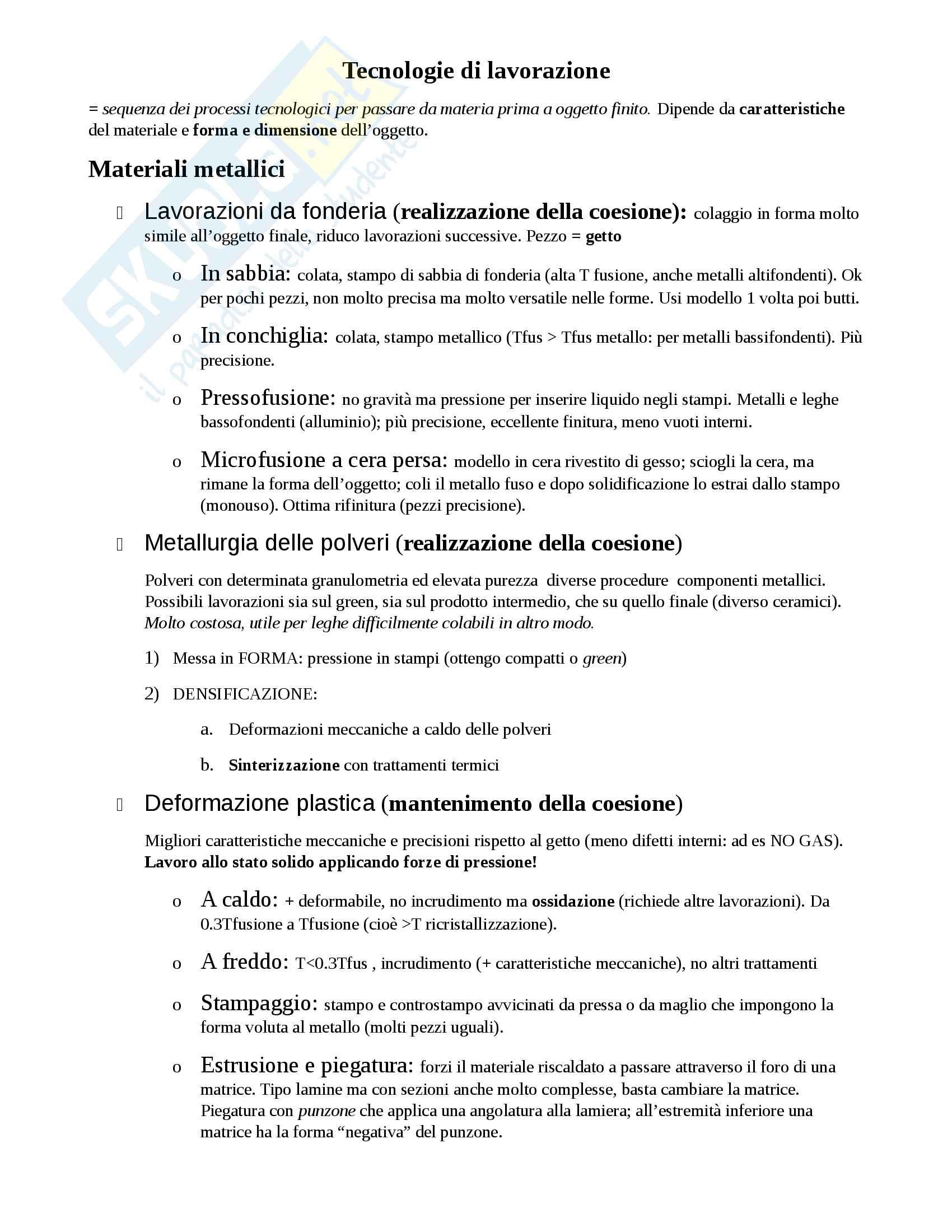 Schema tecniche di lavorazione materiali