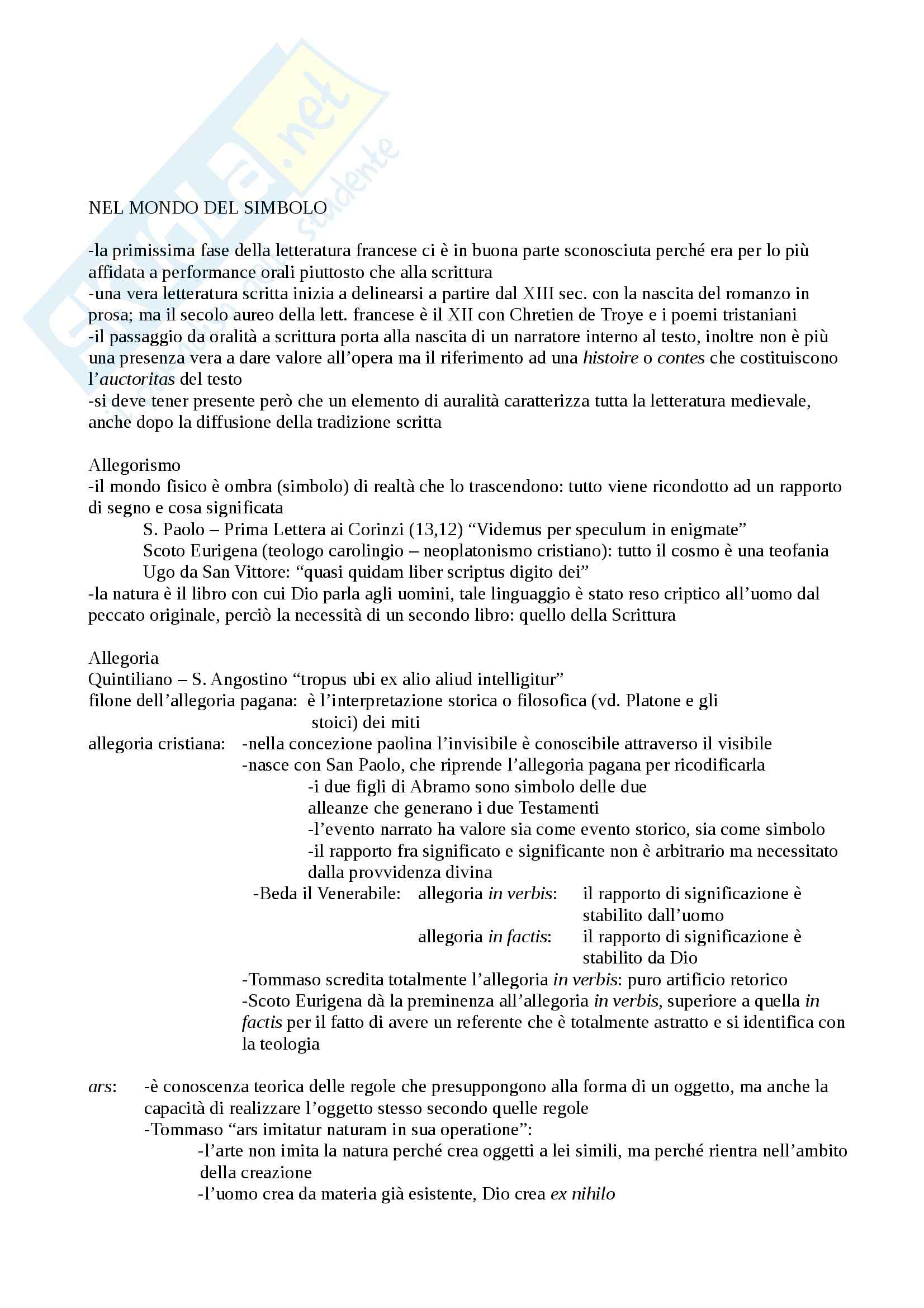 Riassunto esame Filologia Romanza, prof. Cigni, libro consigliato Letteratura Francese Medievale, Mancini