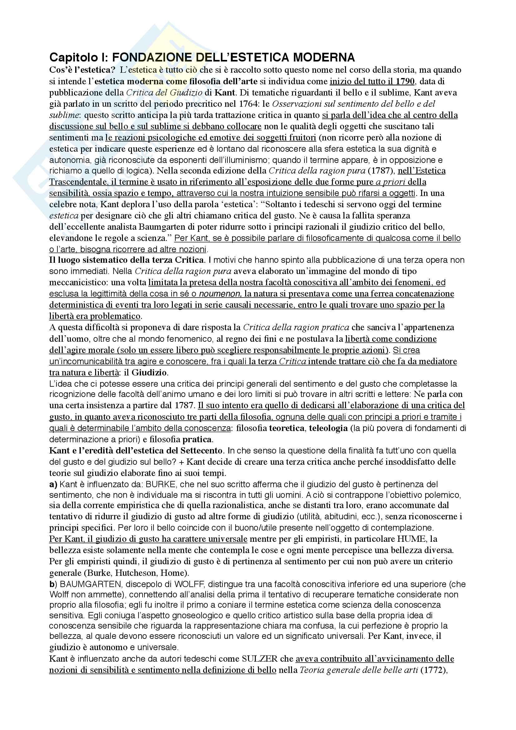 Riassunto esame Estetica, prof. Vercellone, libro consigliato Storia dell'estetica moderna e contemporanea, Bertinetto, Garelli, Vercellone
