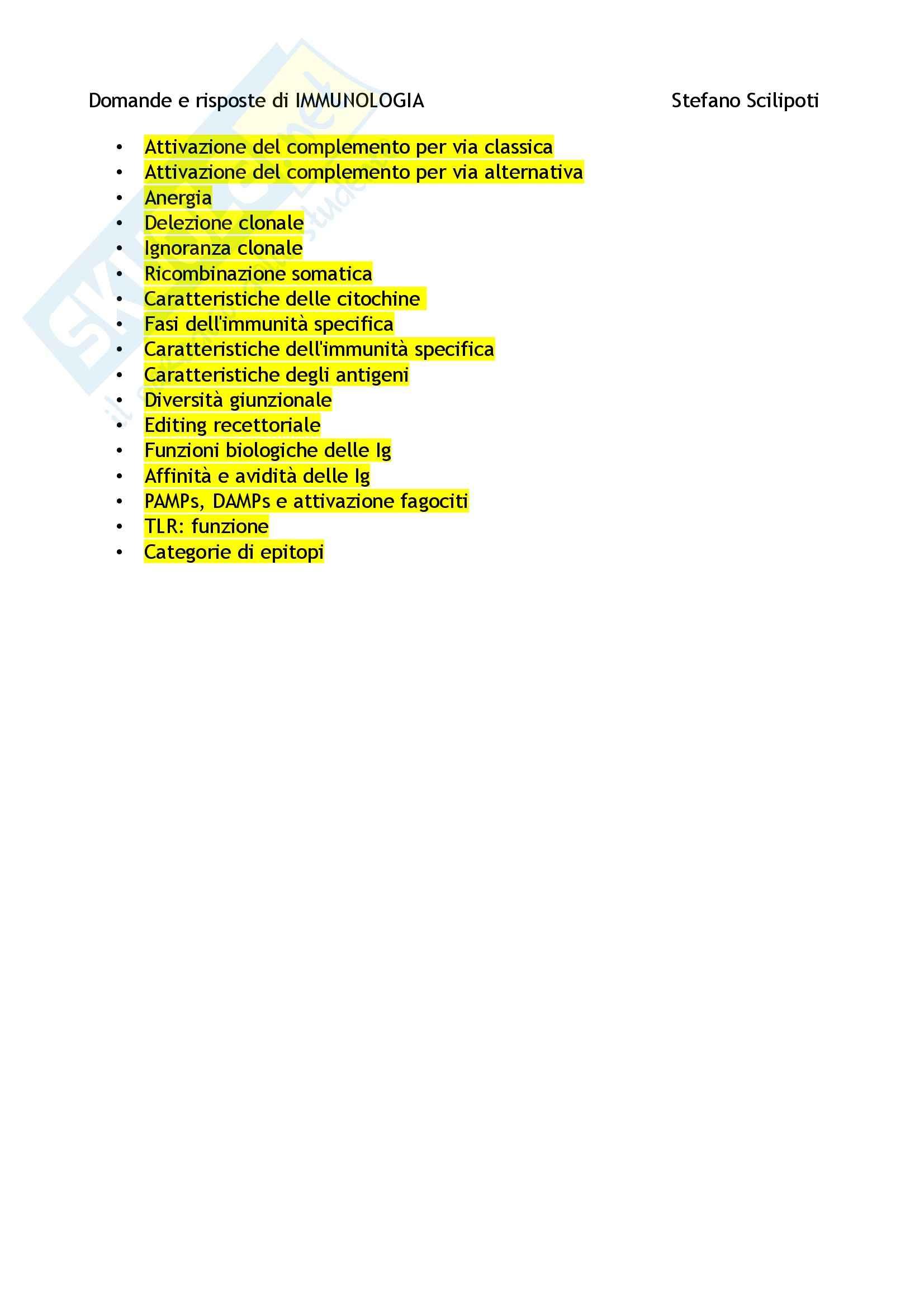 Domande e risposte, Immunologia