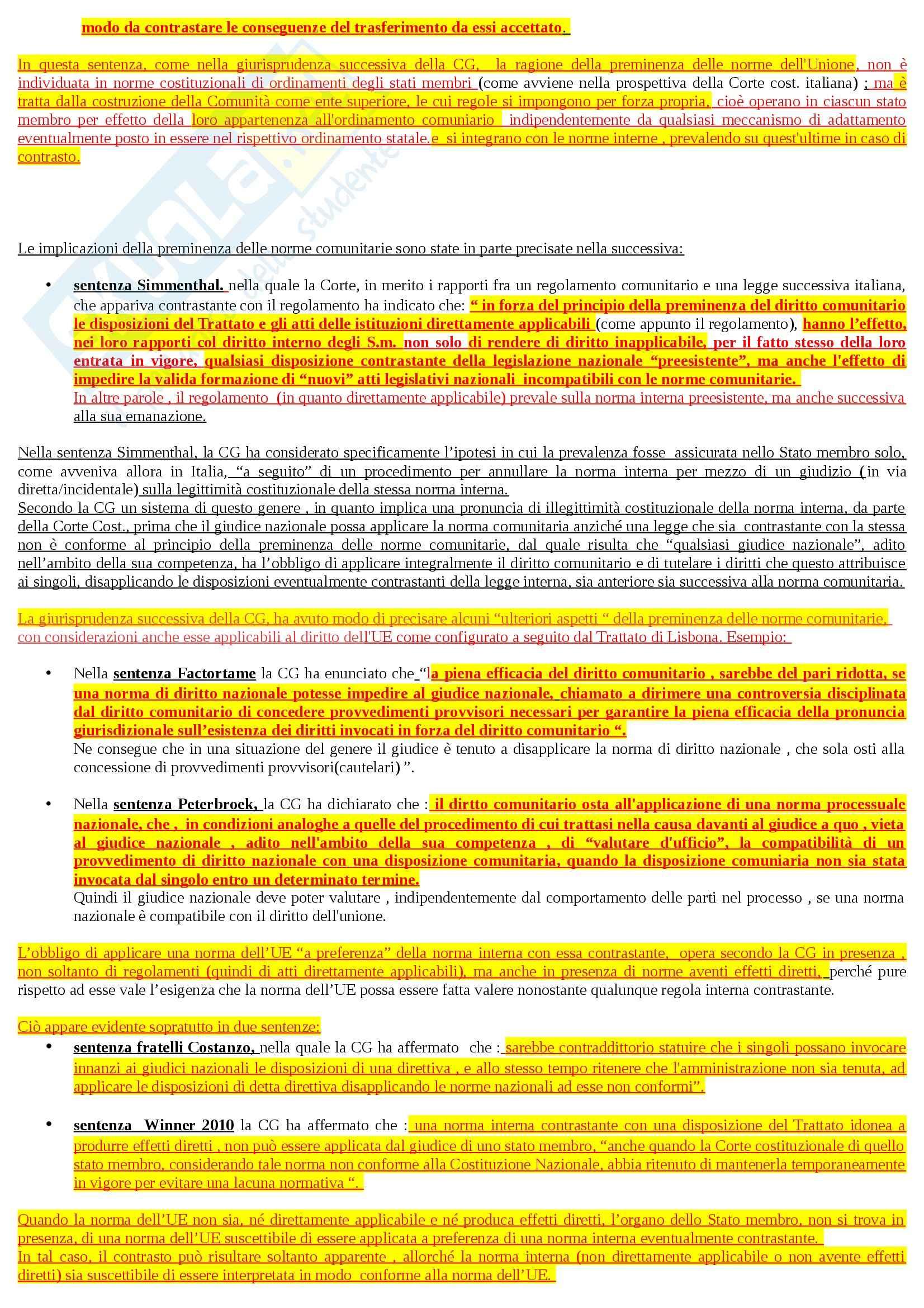 Riassunto esame Diritto dell'Unione Europea, prof. Adinolfi Pag. 46