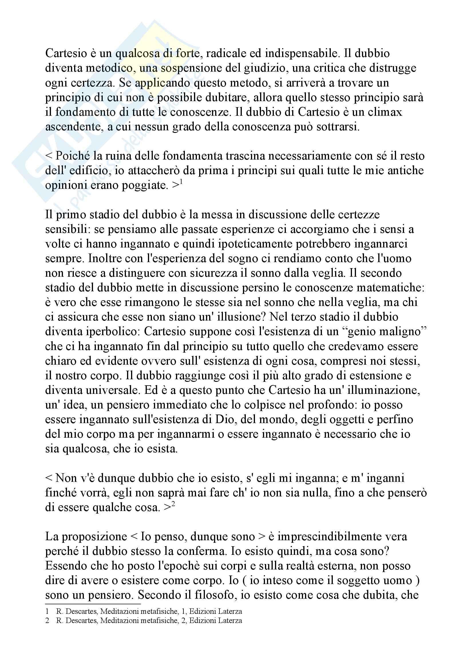 Tesina Cartesio - Io sono pensiero, Storia della filosofia moderna Pag. 2