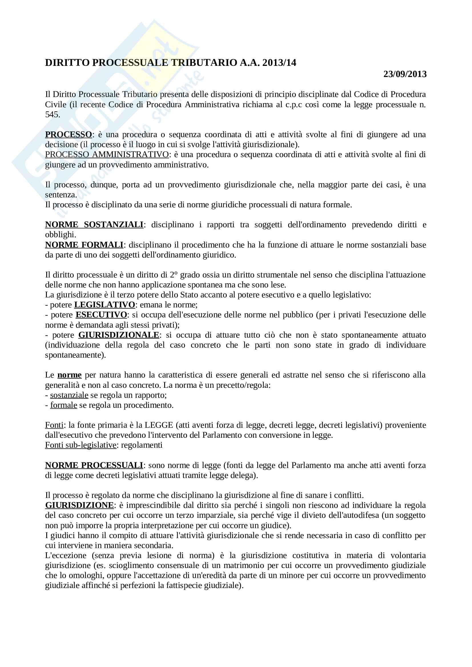 Diritto processuale tributario - Appunti Pag. 1