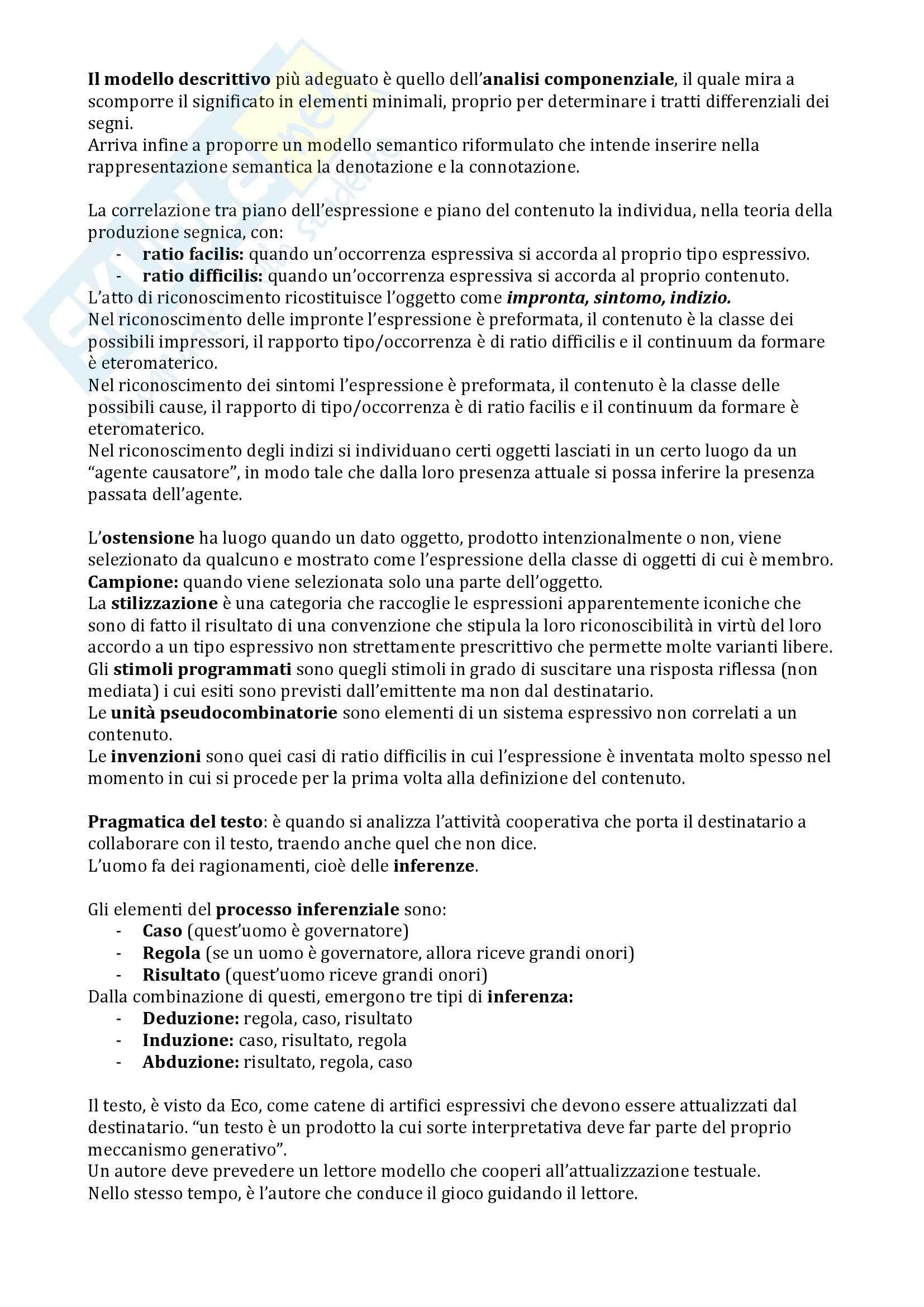 Riassunto esame Semiotica del testo, prof. Bartezzaghi, libro consigliato Le basi della semiotica, Traini Pag. 16