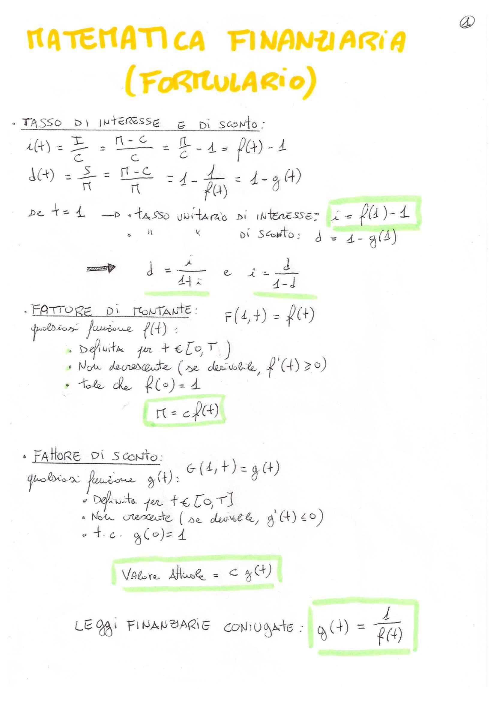 Matematica finanziaria - formulario