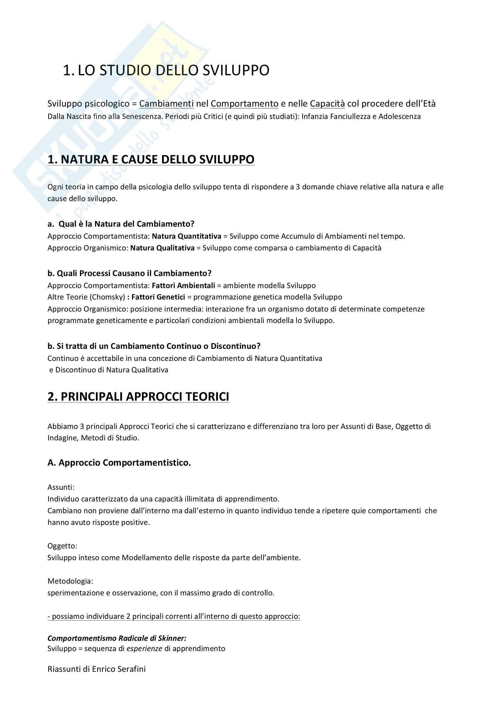 Riassunto esame Psicologia dello Sviluppo, docente Di Blasio, libro consigliato Psicologia dello Sviluppo, Camaioni e Di Blasio