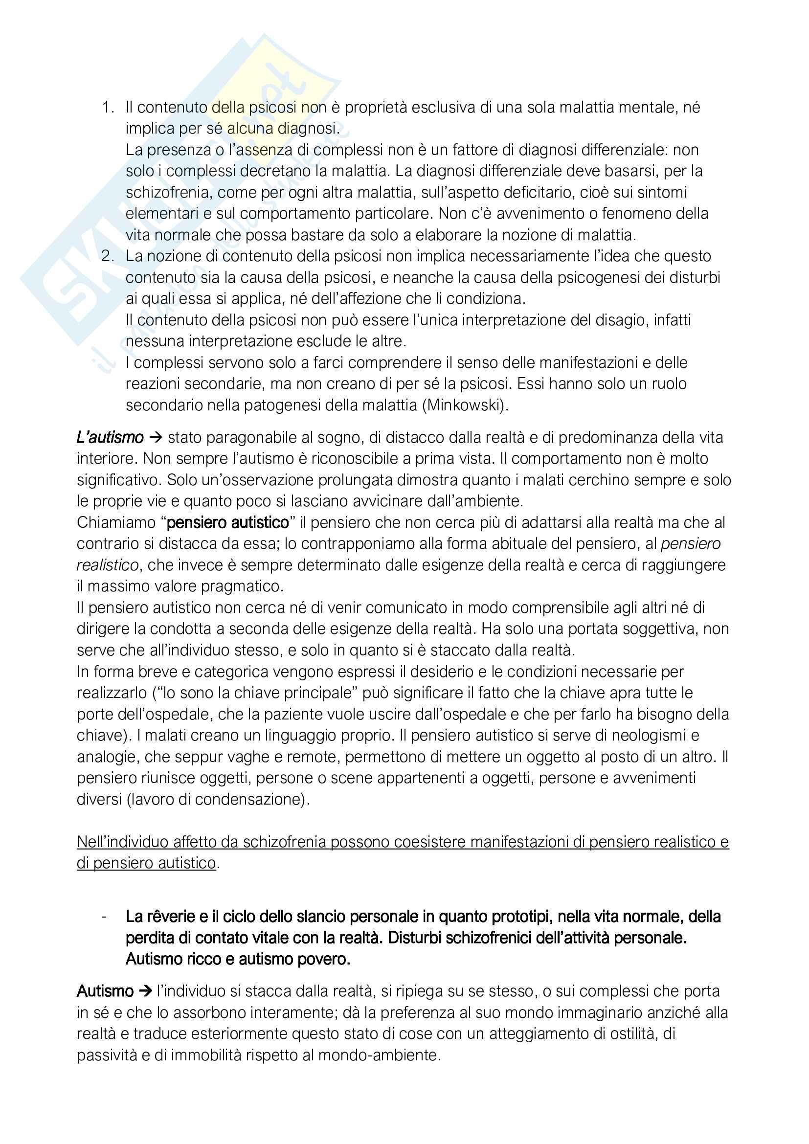 Riassunto esame Logica causale clinica I, prof De Monte, libro consigliato La schizofrenia, Minkowski Pag. 11