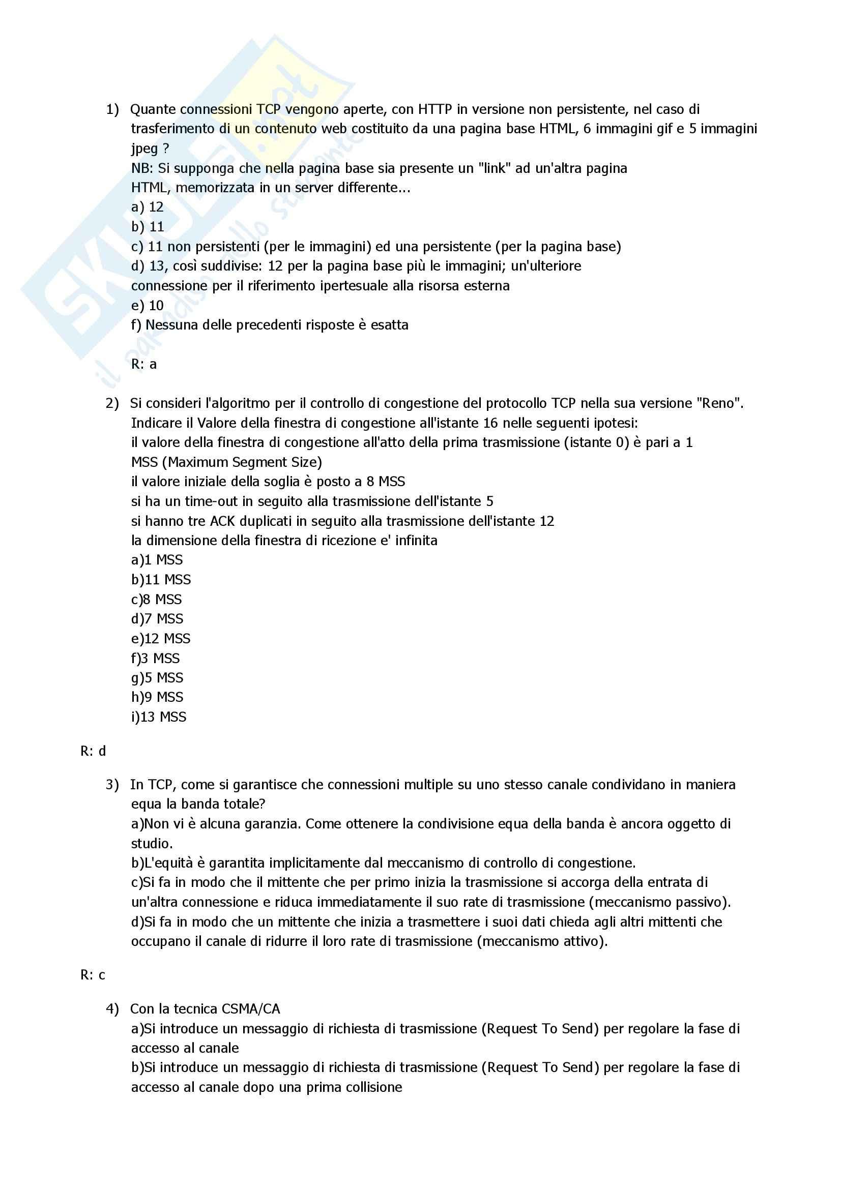 Reti di Calcolatori - raccolta di domande - esercitazione