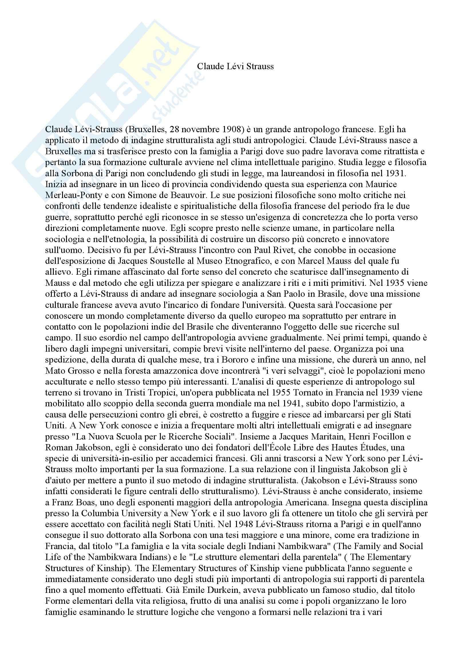 Antropologia culturale - Levi-Strauss - appunti