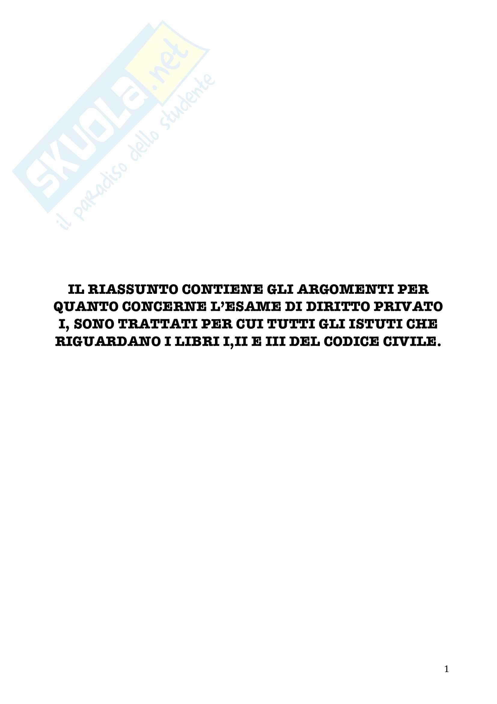 Riassunto esame Diritto privato, prof. Tamponi, libro consigliato Manuale di diritto privato di Torrente, Schlesinger Pag. 1